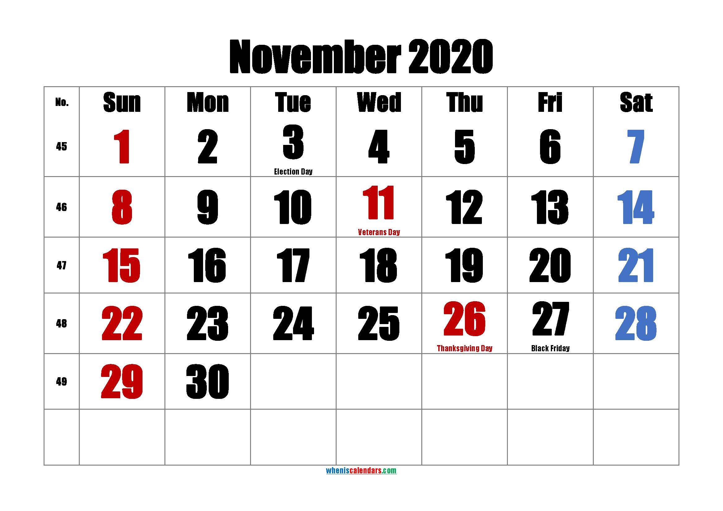 Printable NOVEMBER 2020 Calendar with Holidays