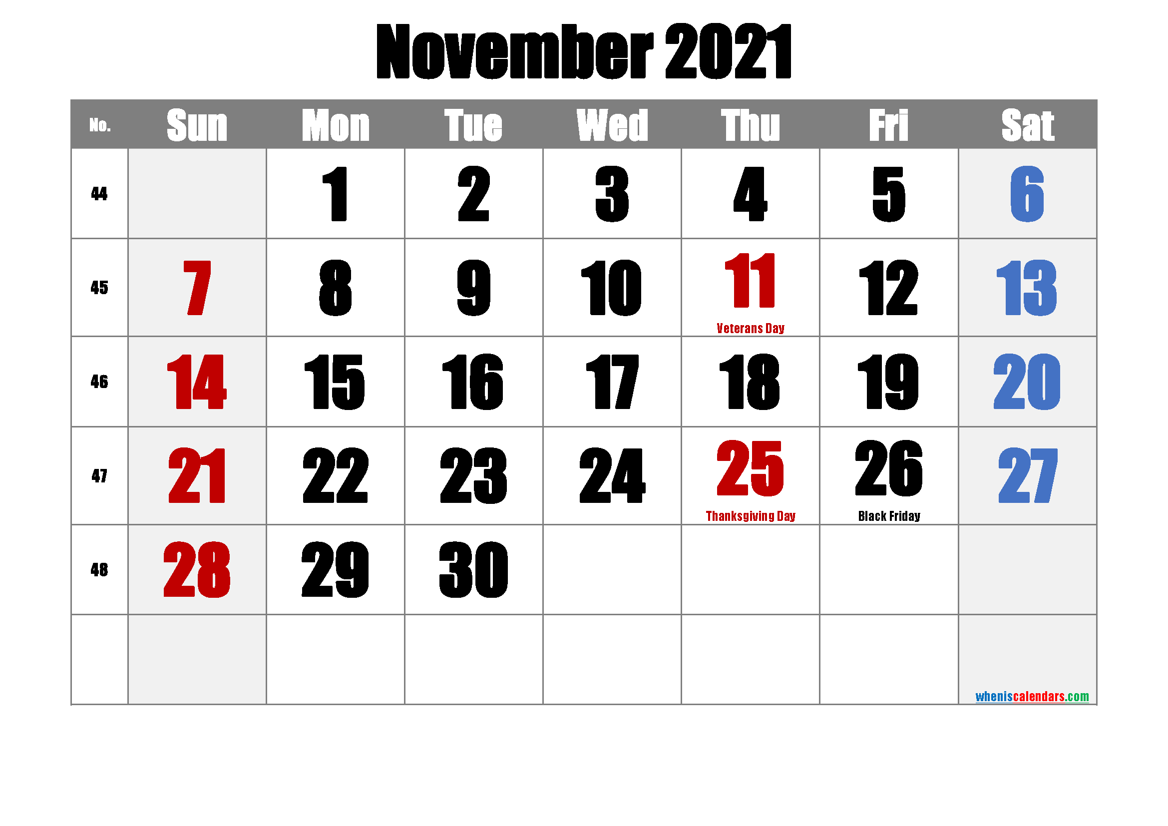 NOVEMBER 2021 Printable Calendar with Holidays