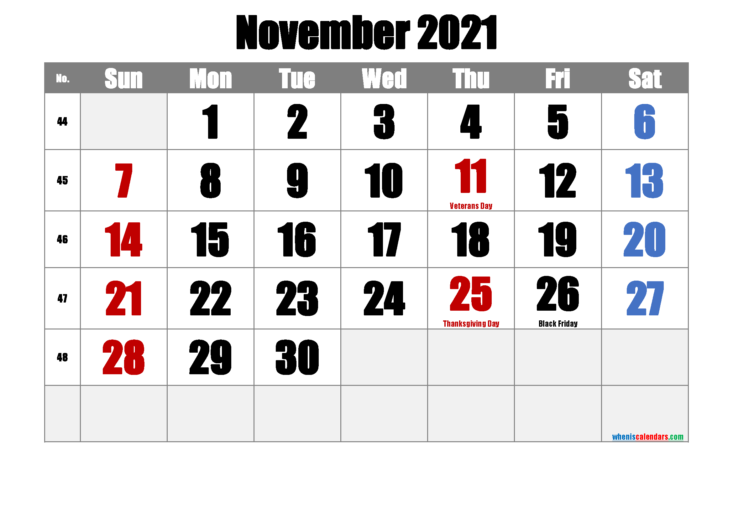 Free Printable NOVEMBER 2021 Calendar with Holidays