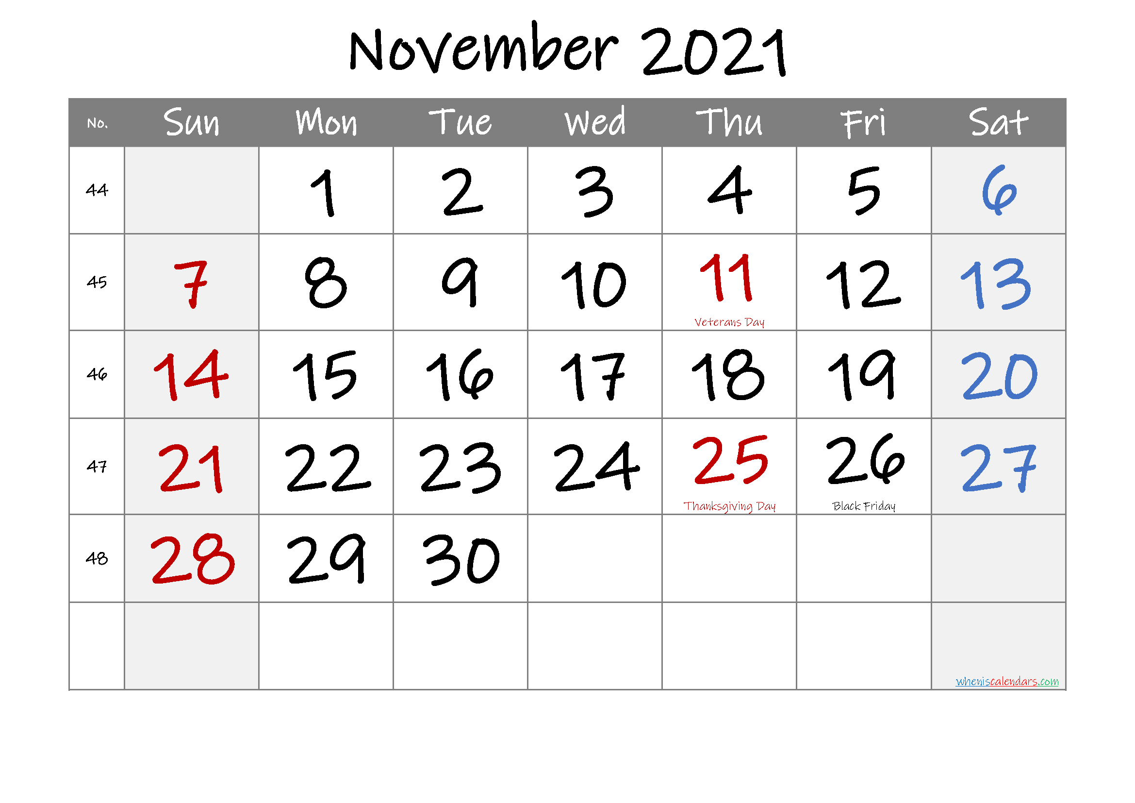 November 2021 Free Printable Calendar with Holidays