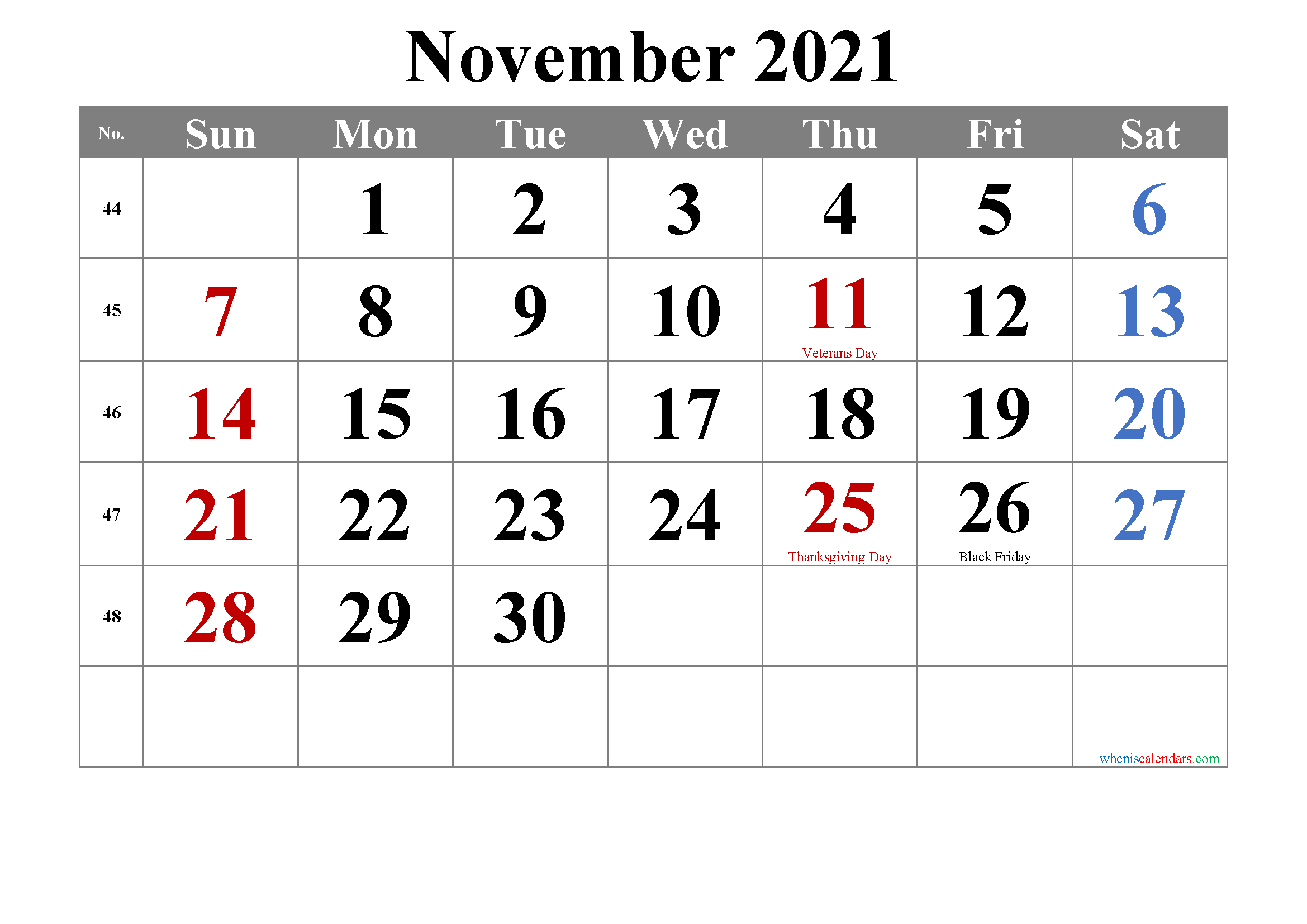 November 2021 Calendar with Holidays Printable