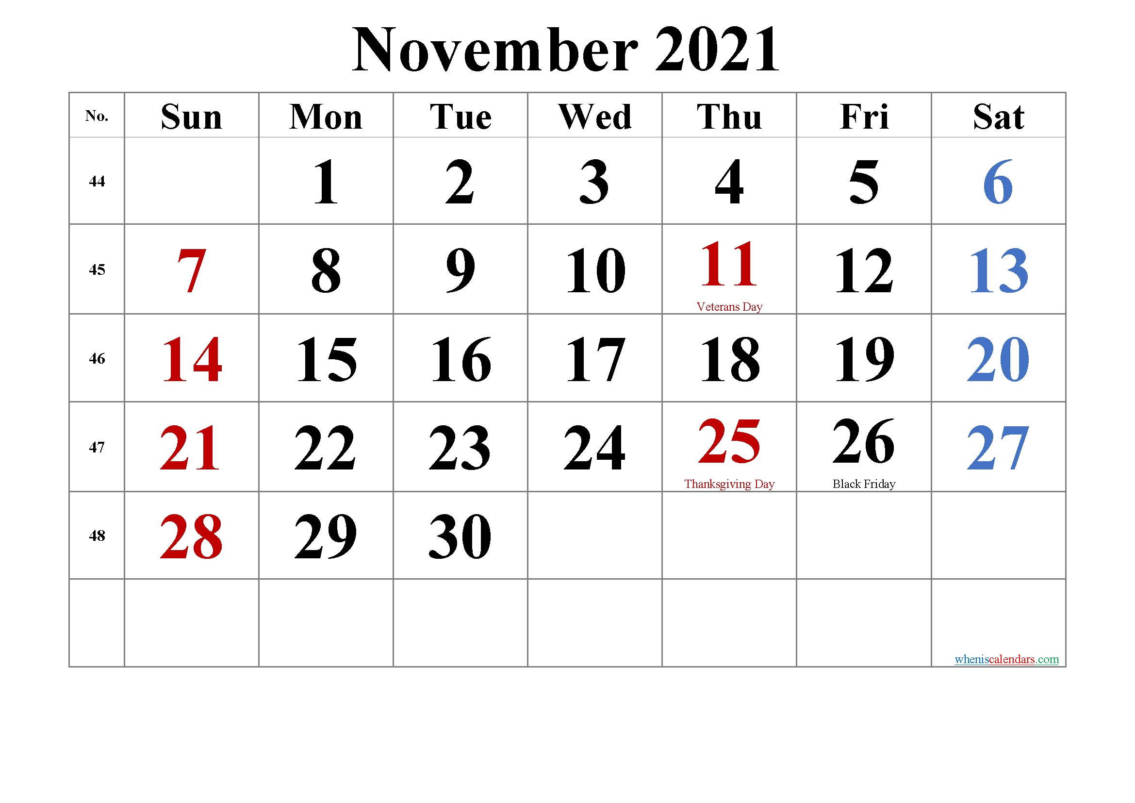 Printable NOVEMBER 2021 Calendar with Holidays