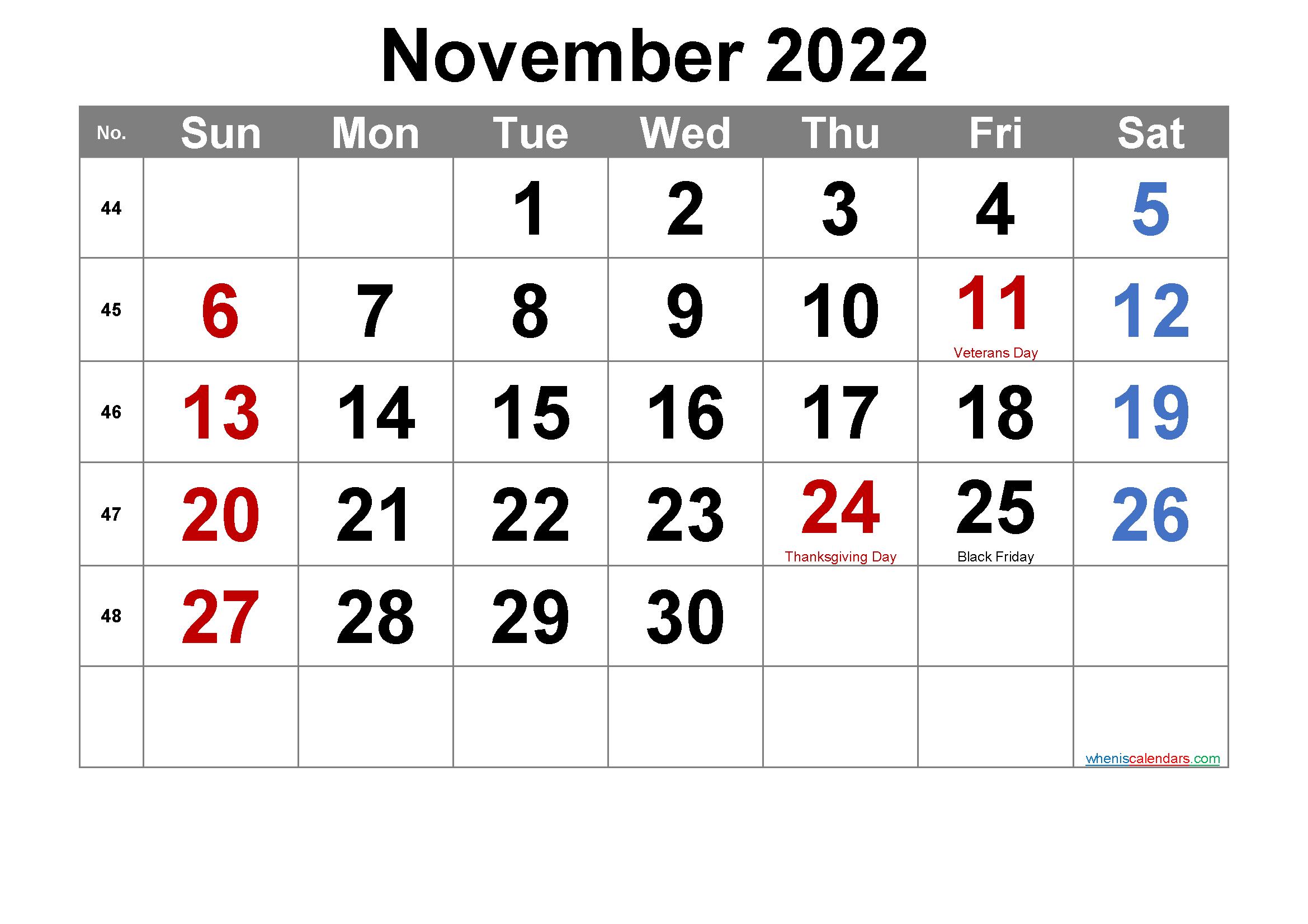 Editable November 2022 Calendar with Holidays