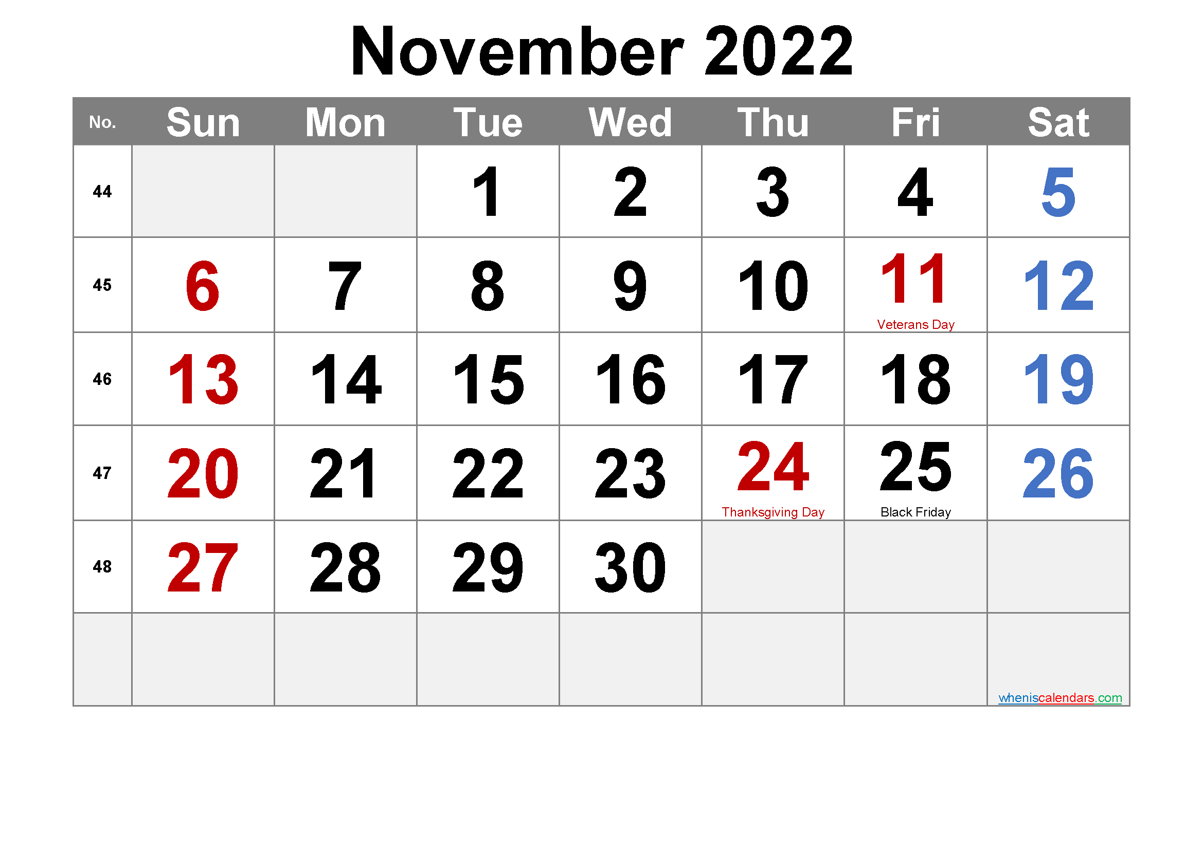 NOVEMBER 2022 Printable Calendar with Holidays