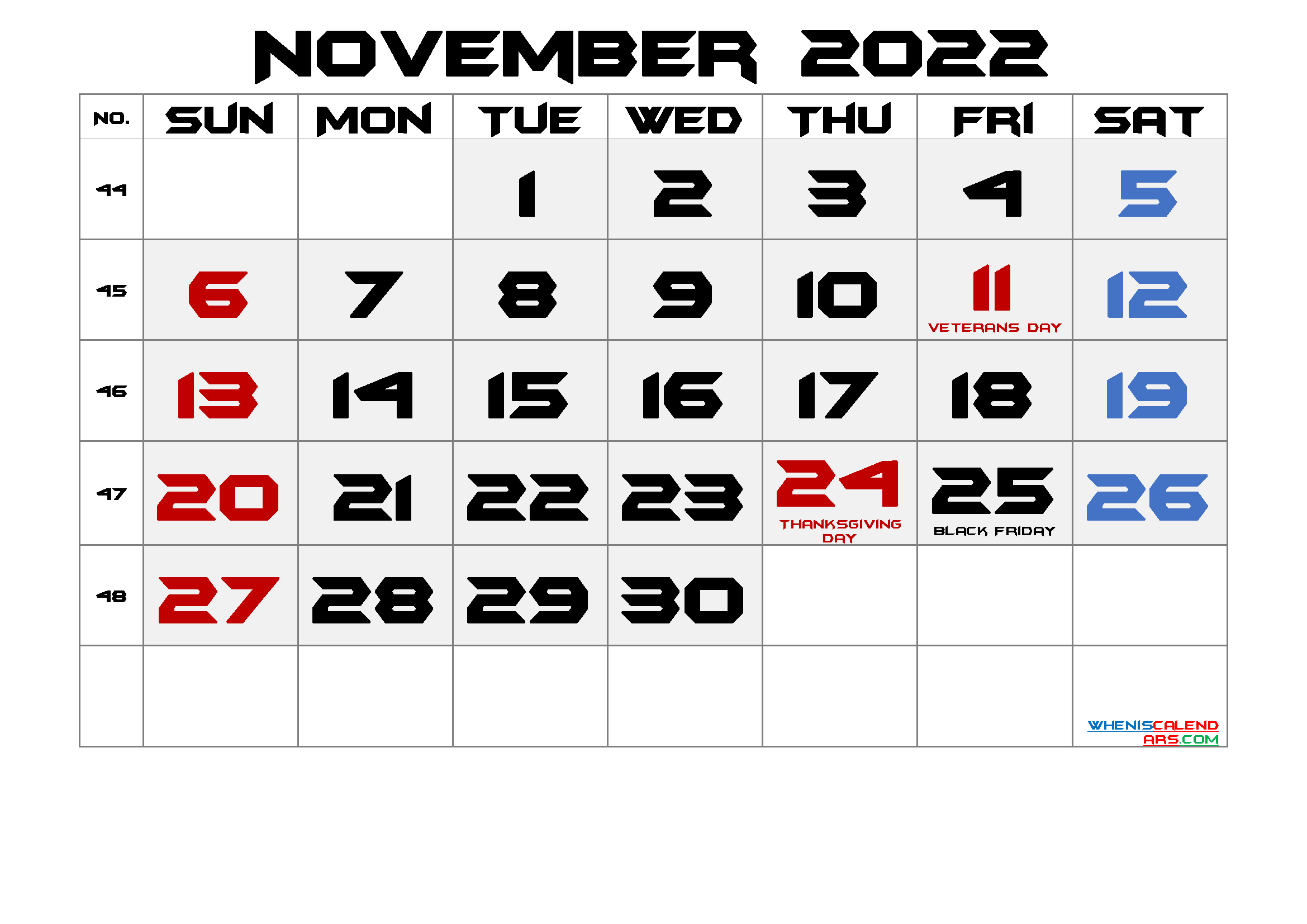 Free November 2022 Printable Calendar with Holidays