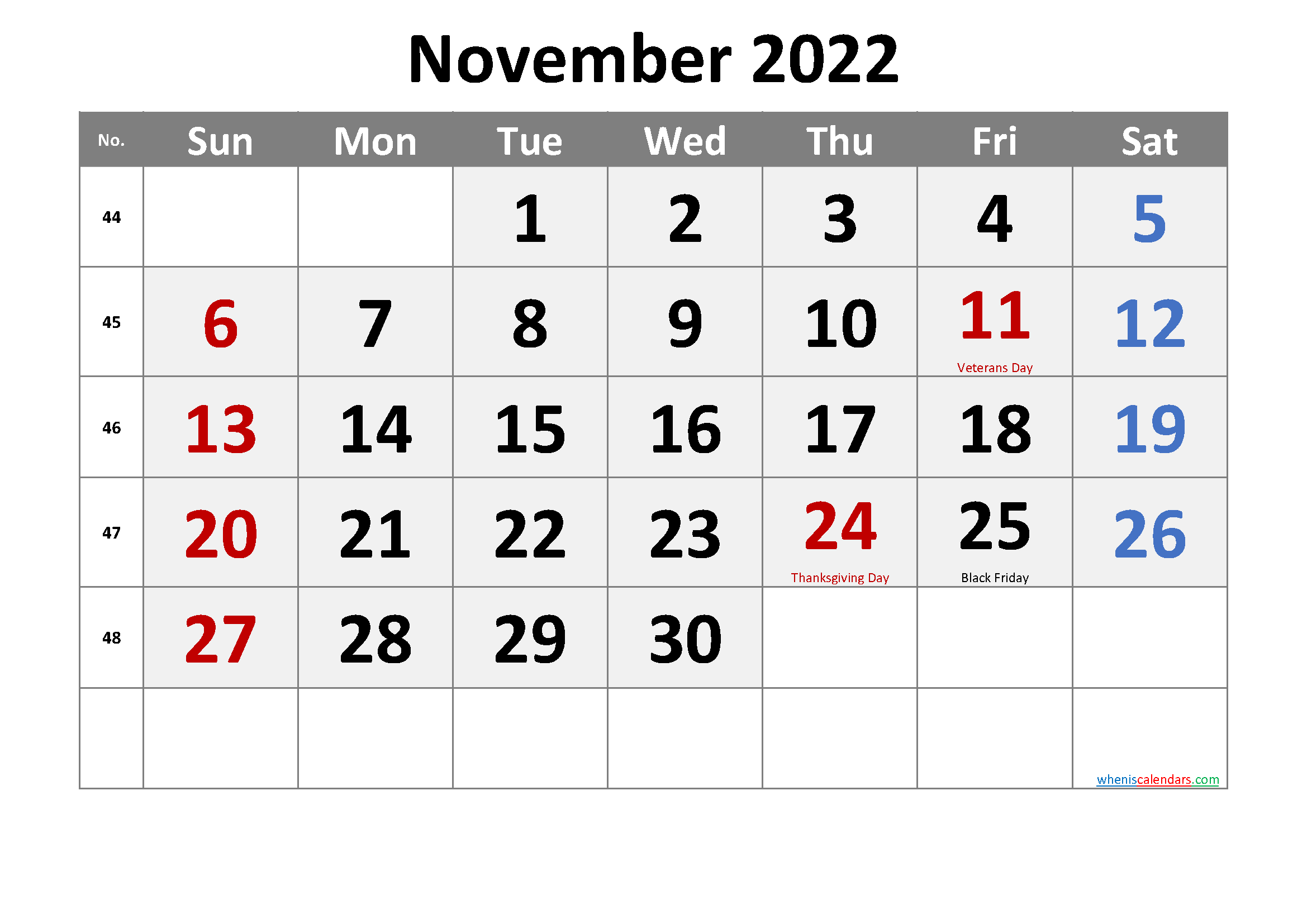 NOVEMBER 2022 Printable Calendar with Holidays