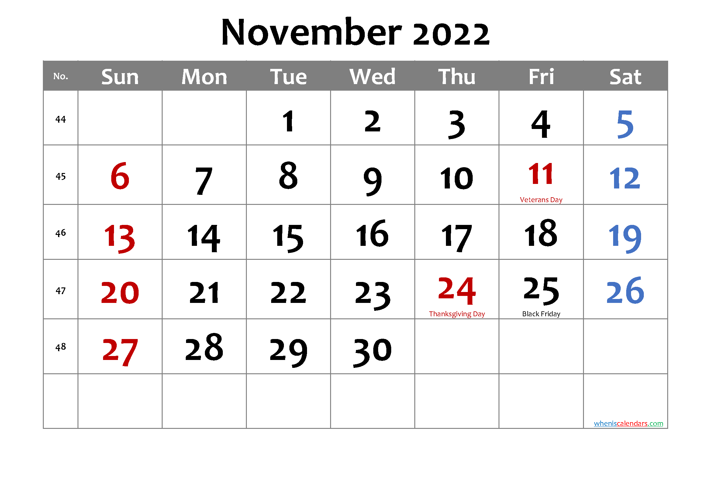 Free Printable NOVEMBER 2022 Calendar with Holidays