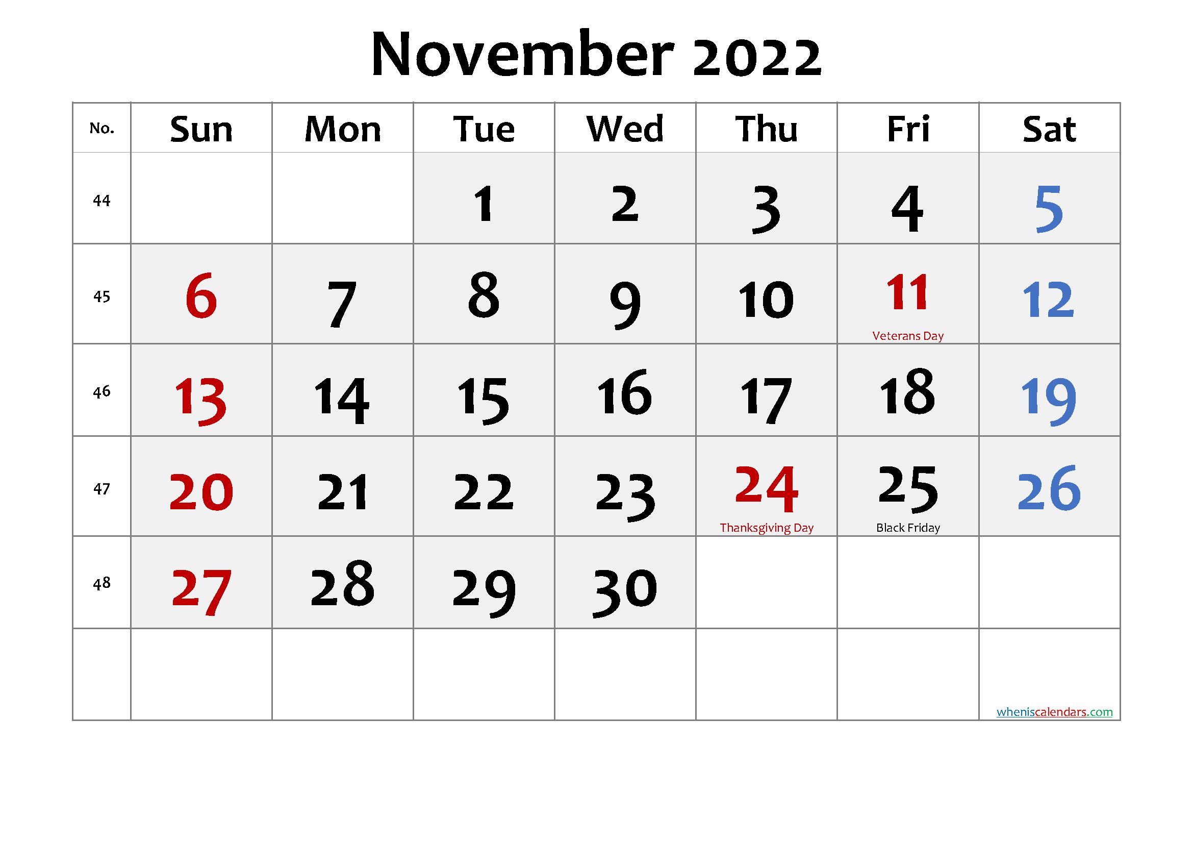 Printable November 2022 Calendar.Free Printable November 2022 Calendar With Holidays Free Printable 2021 Monthly Calendar With Holidays