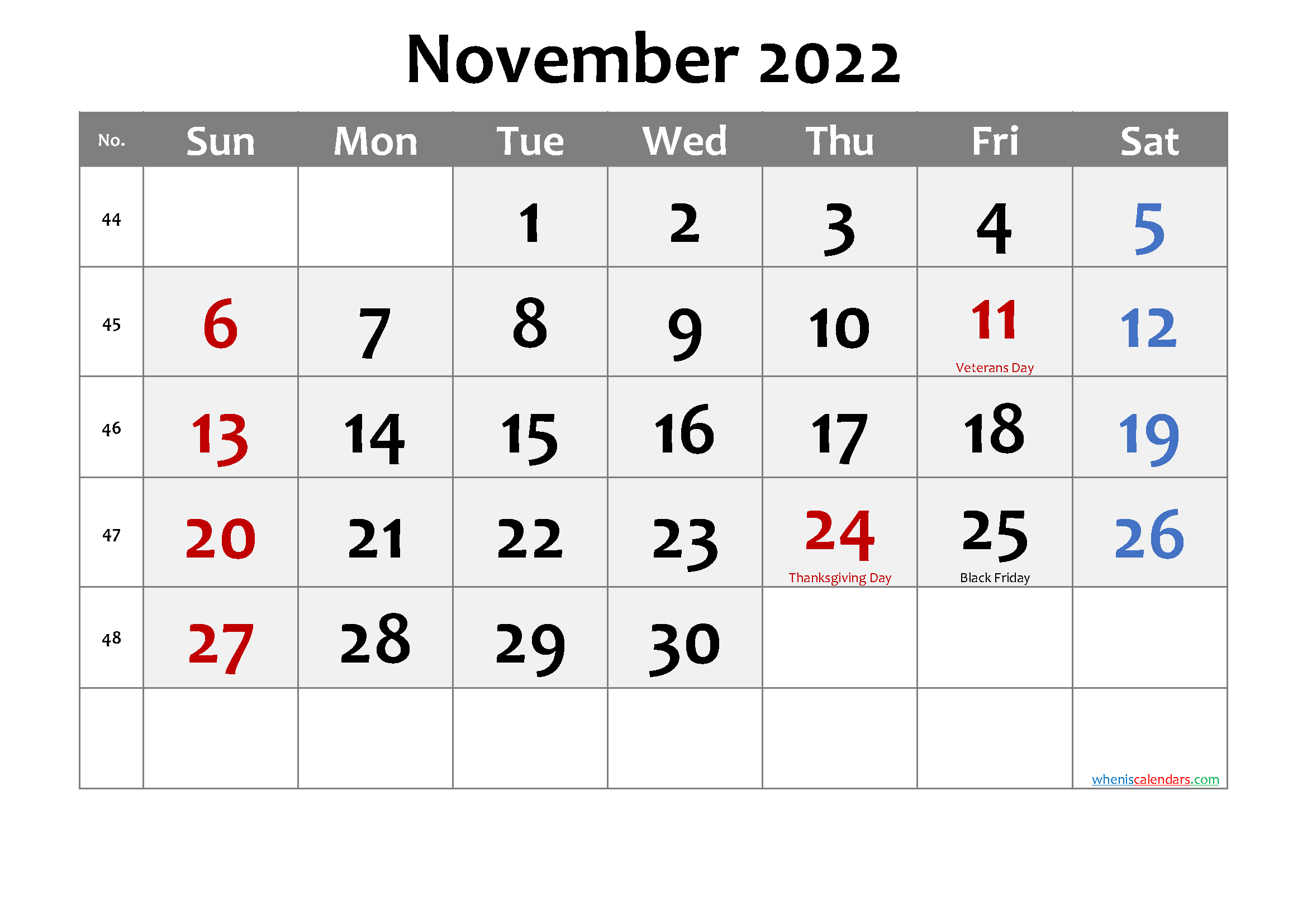 Printable NOVEMBER 2022 Calendar with Holidays