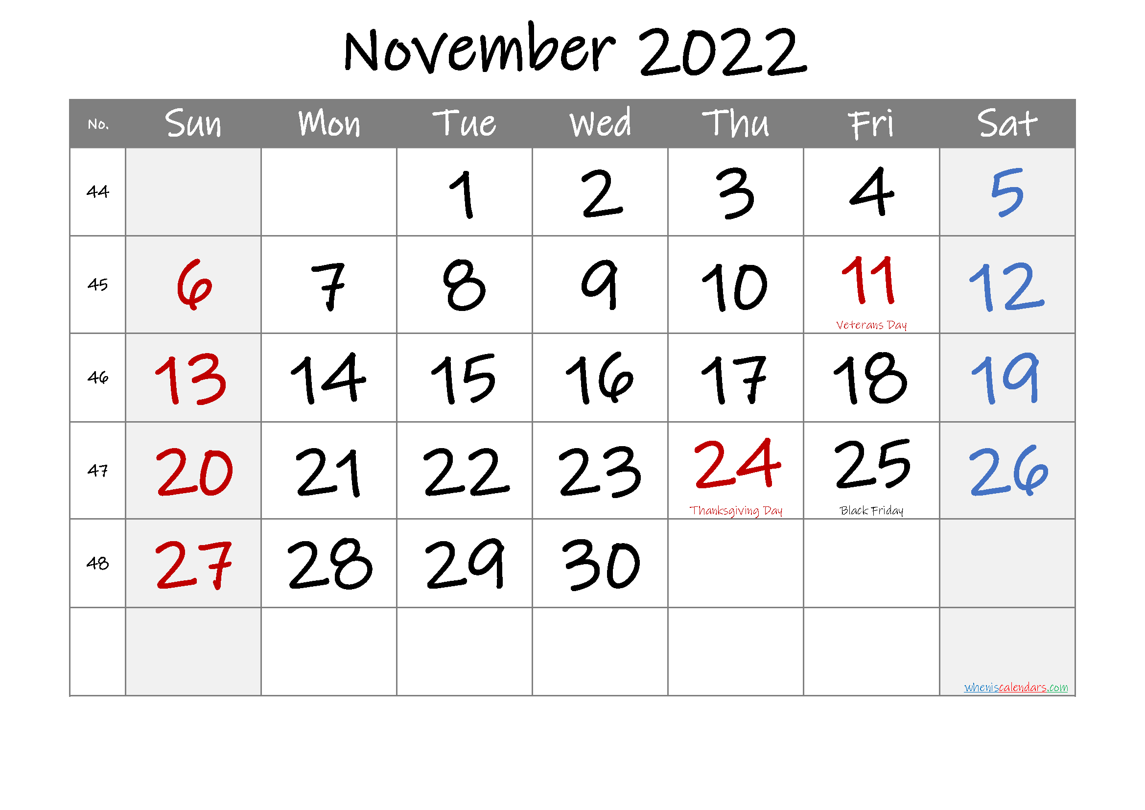 Printable NOVEMBER 2022 Calendar with Holidays