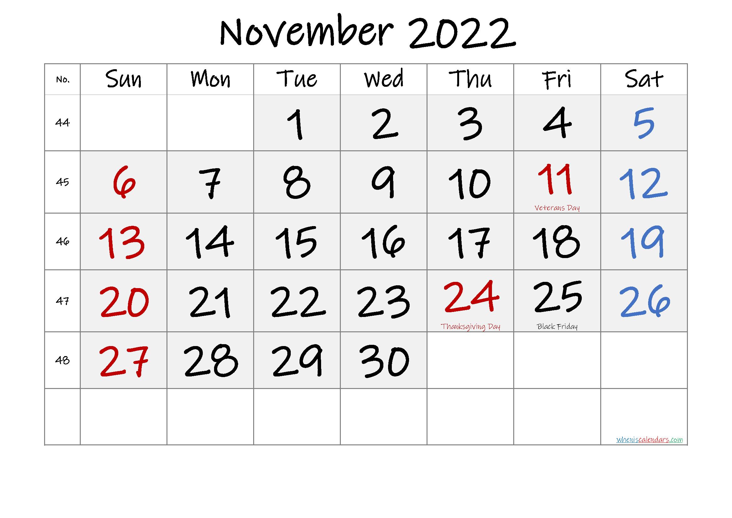 Free Printable November 2022 Calendar with Holidays