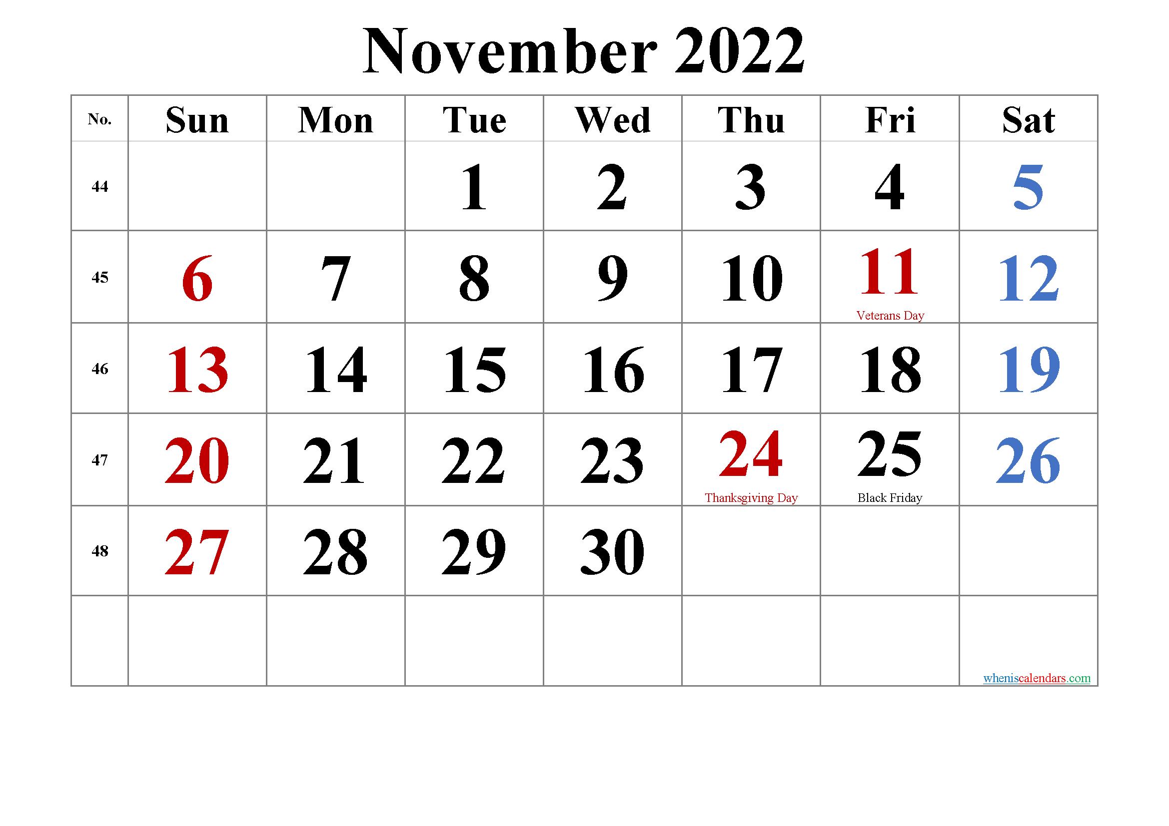 Editable November 2022 Calendar