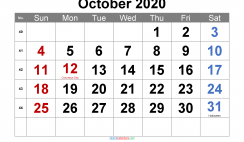 Printable October 2020 Calendar with Holidays