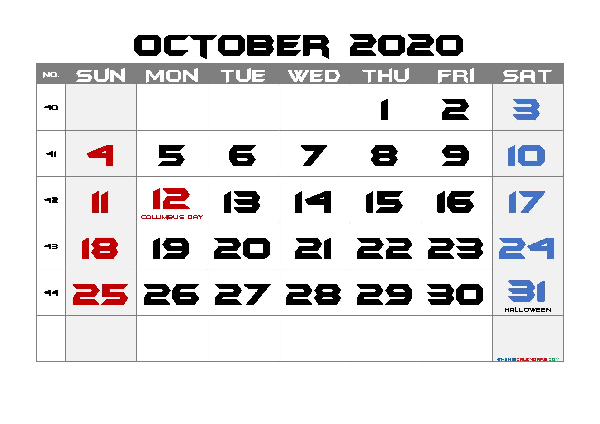 Printable October 2020 Calendar with Holidays