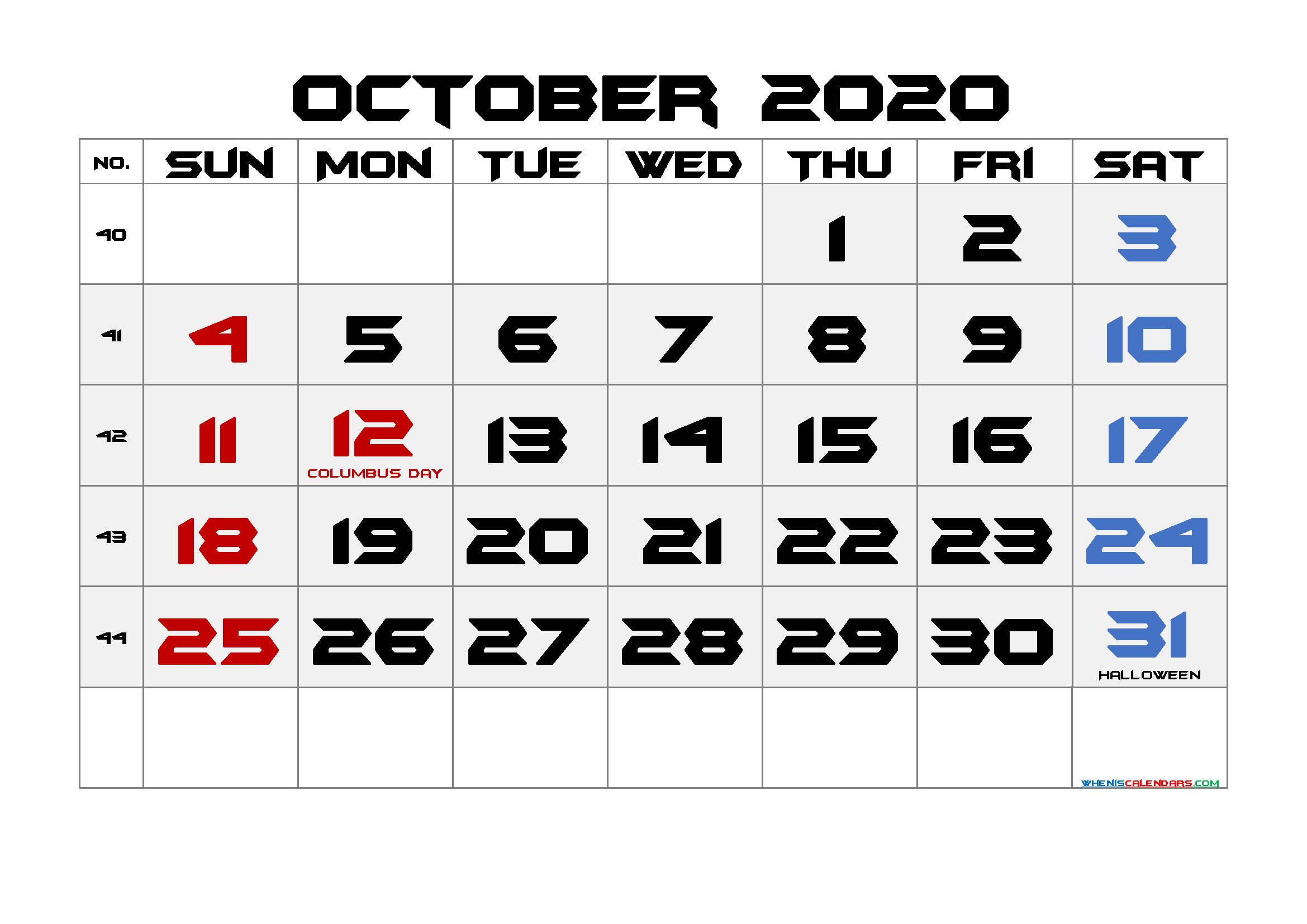 Free October 2020 Printable Calendar with Holidays