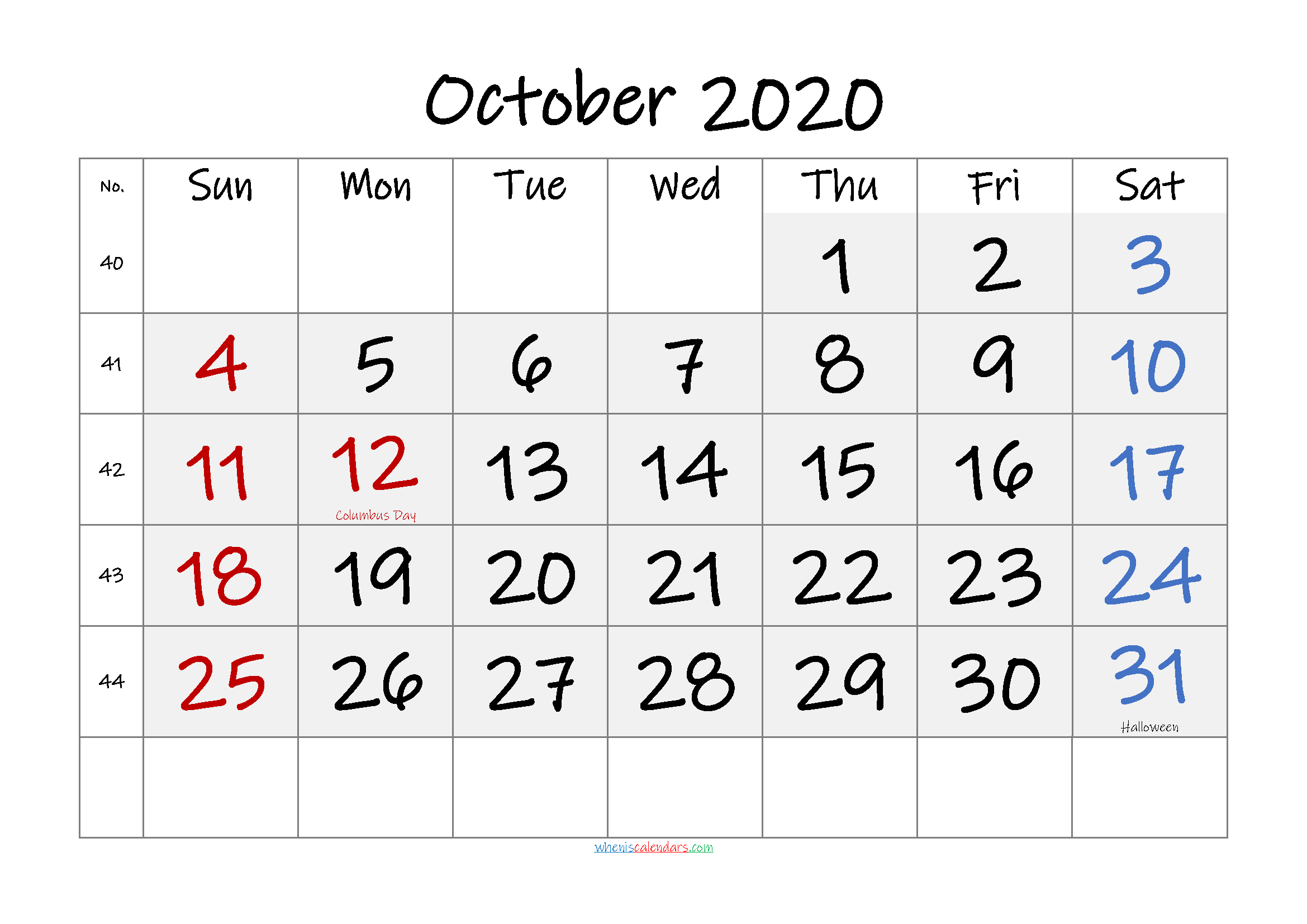 Free Printable OCTOBER 2020 Calendar with Holidays