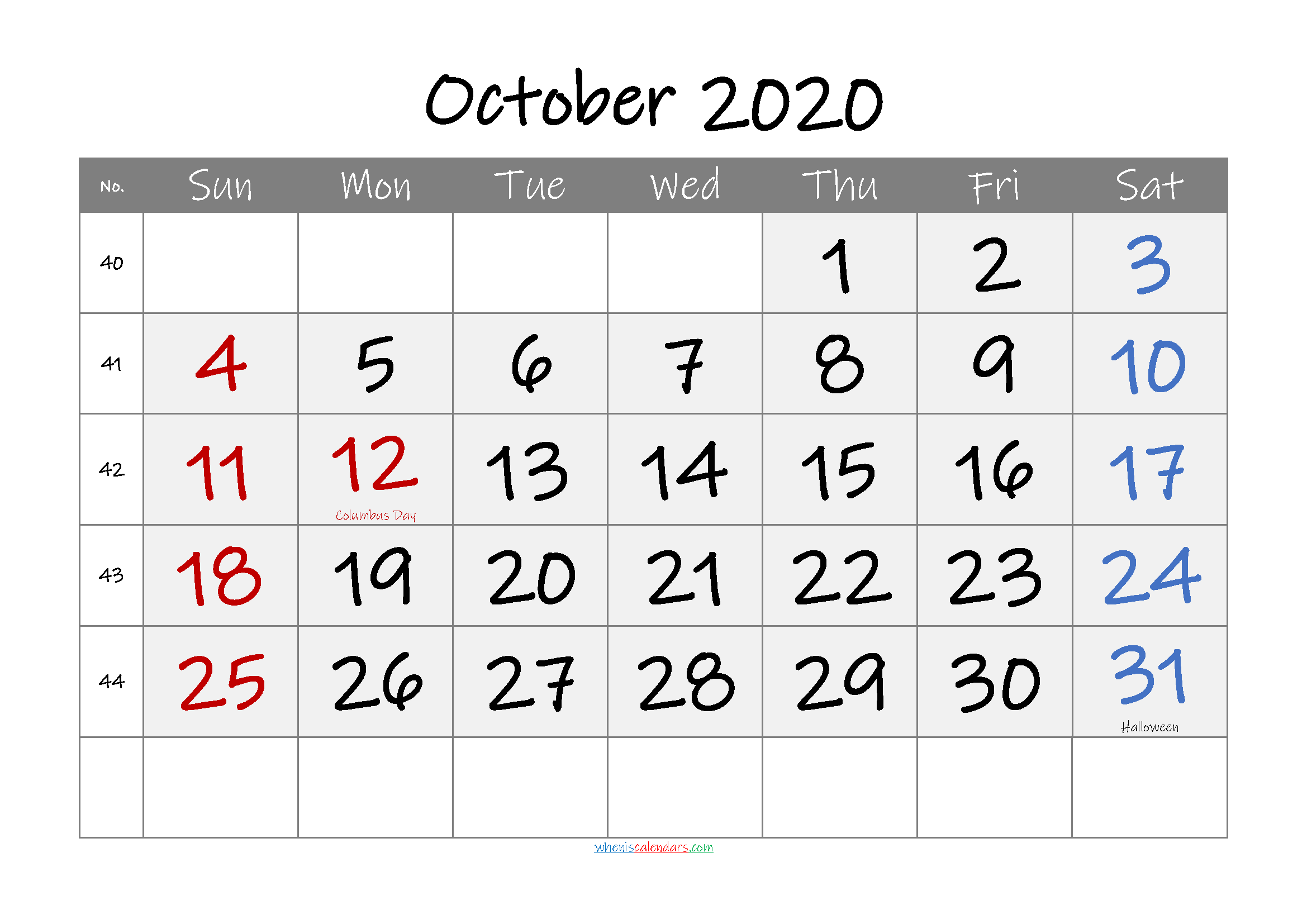 Free Printable Coloring Calendar 2020 October