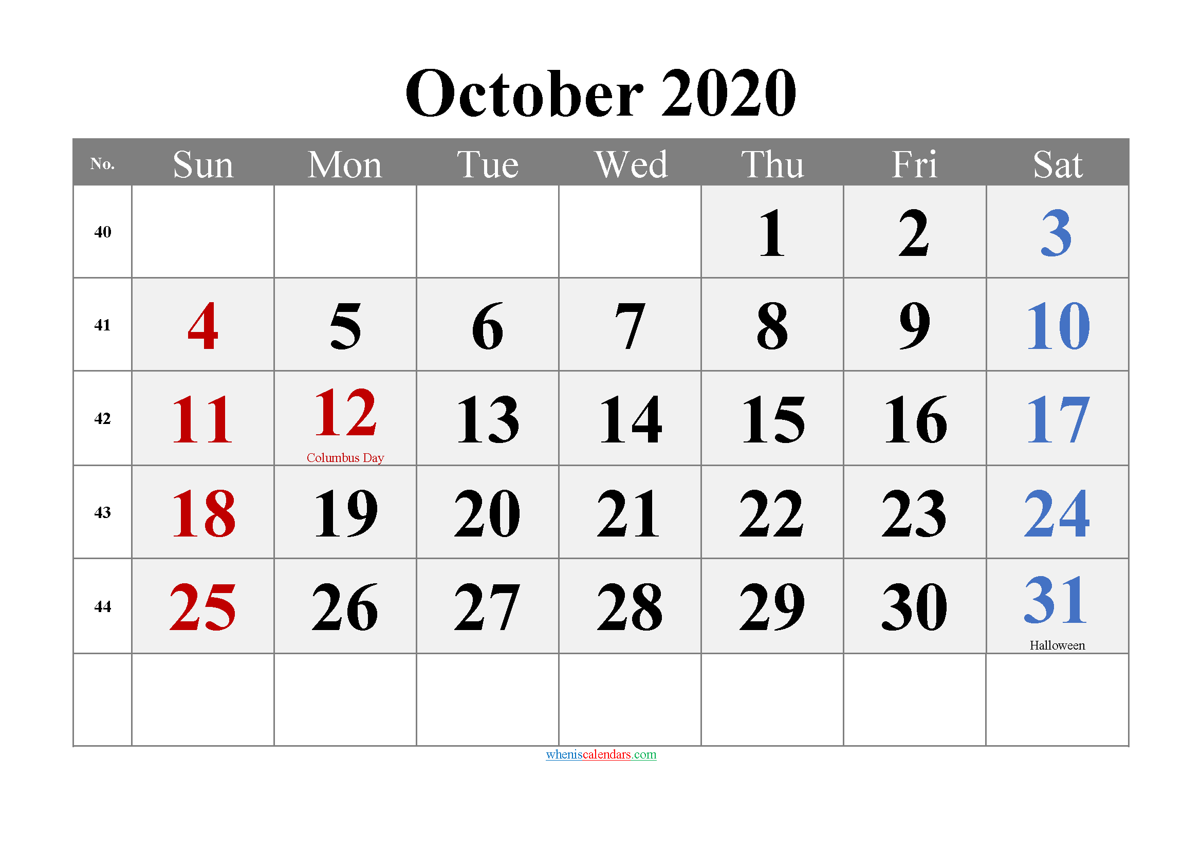 October 2020 Printable Calendar with Holidays