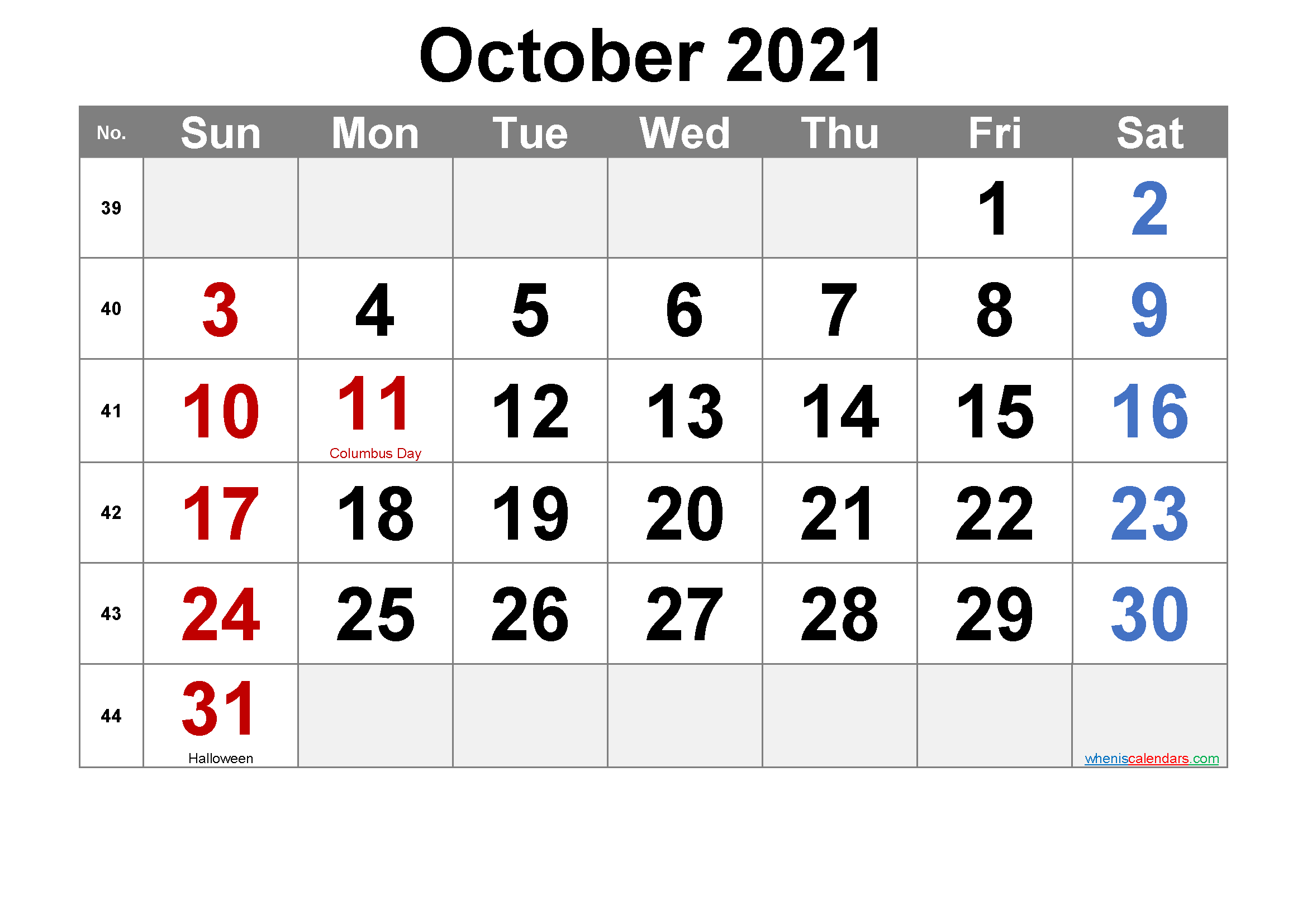 October 2021 Printable Calendar with Holidays