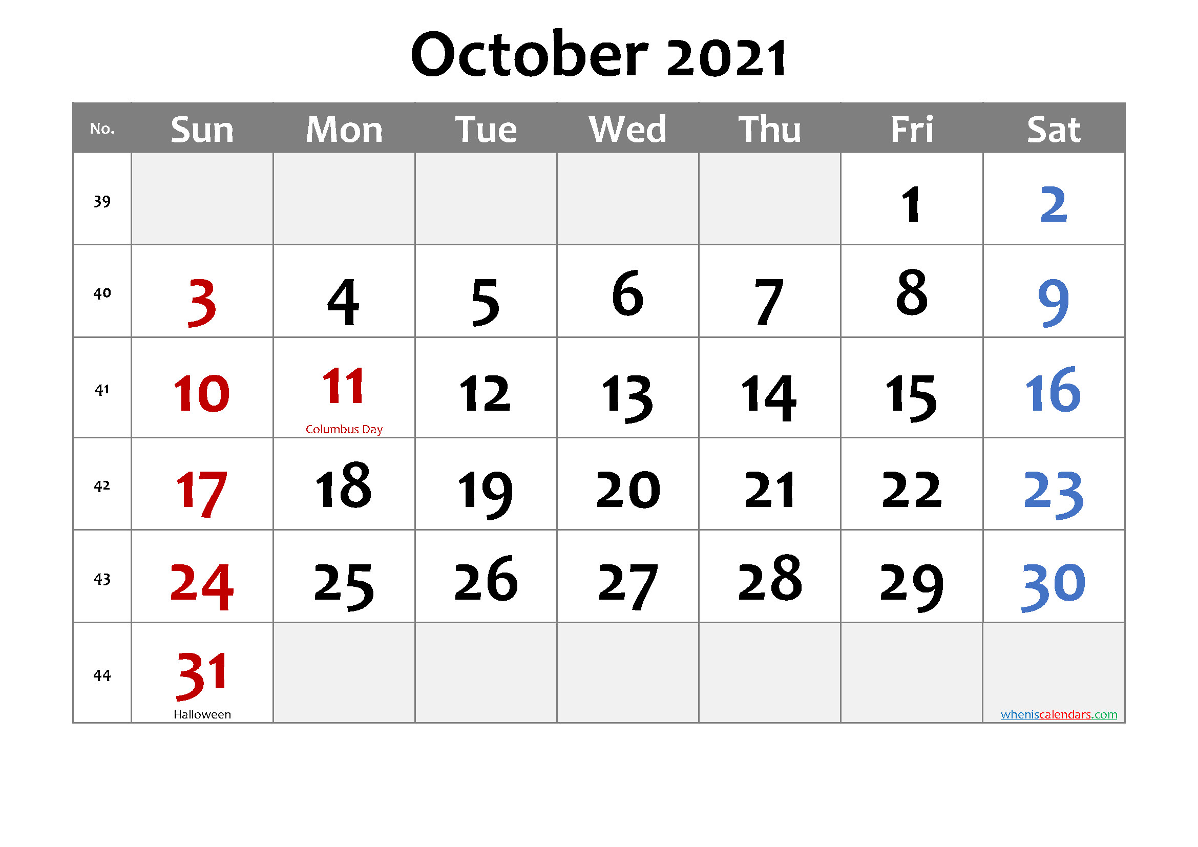 Printable October 2021 Calendar Word