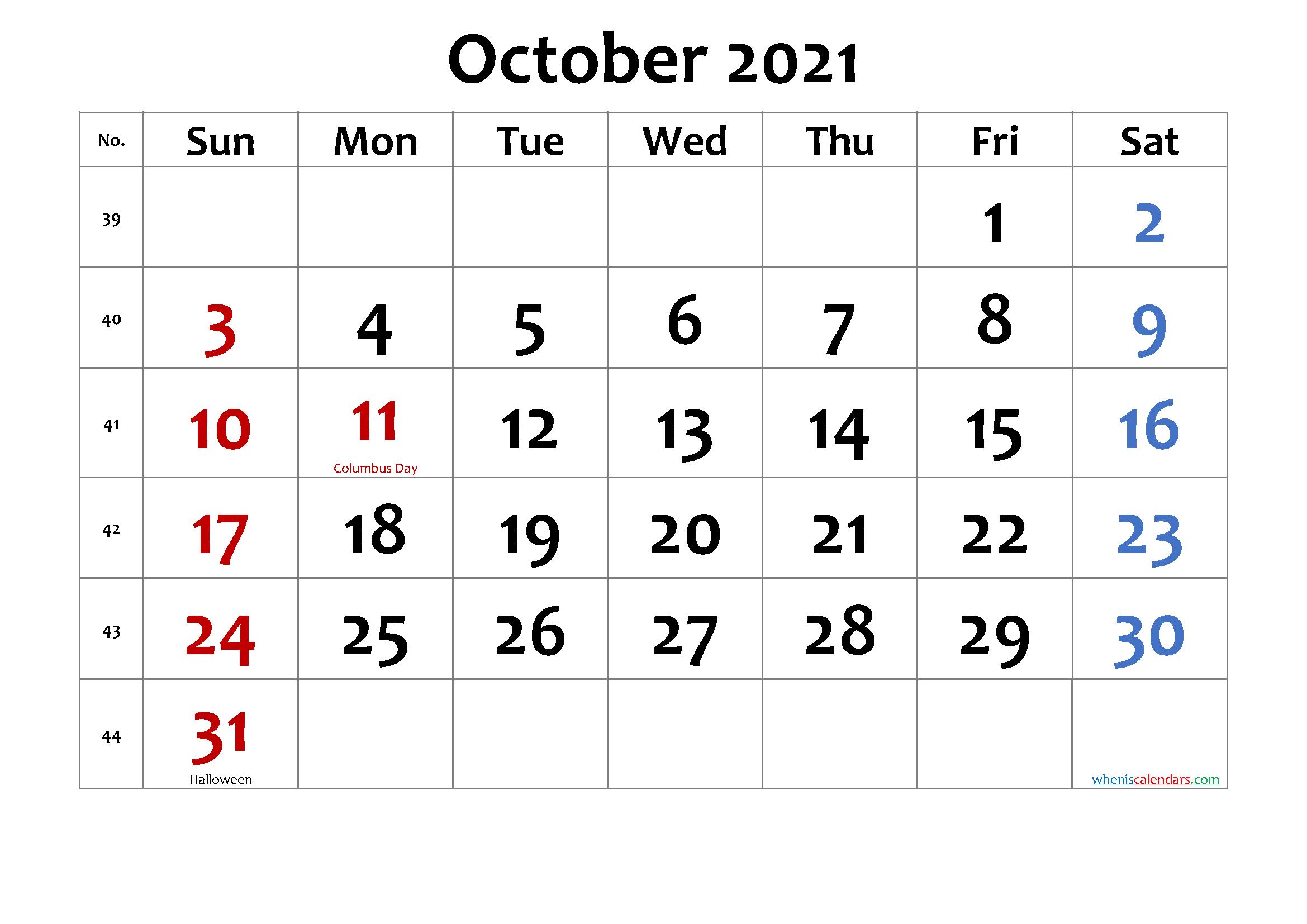 October 2021 Printable Calendar with Holidays