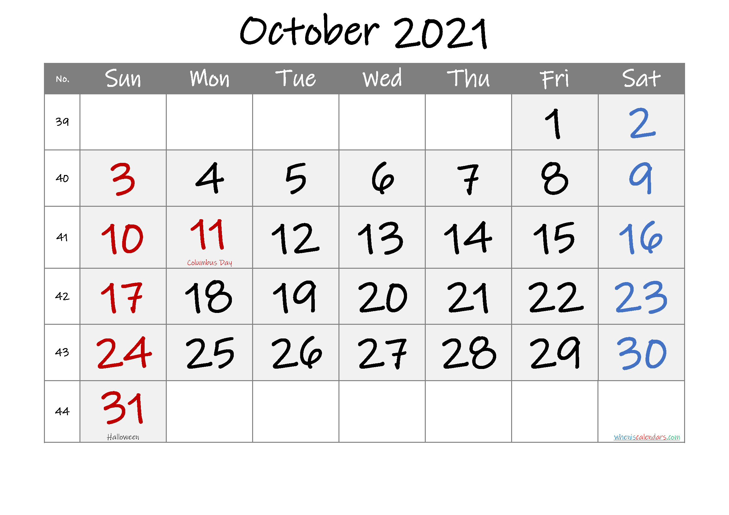 Printable OCTOBER 2021 Calendar with Holidays