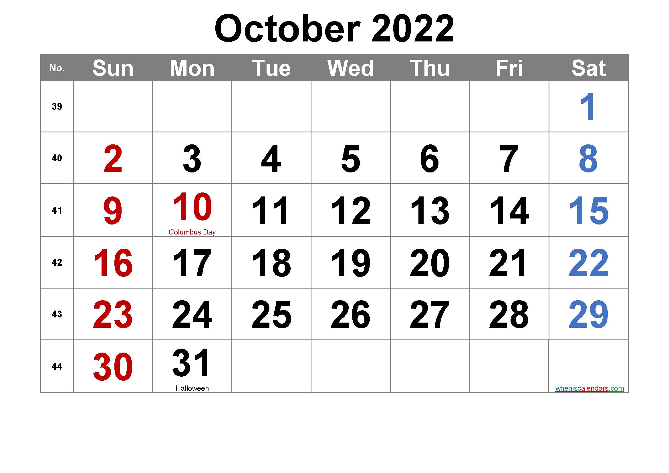 Editable October 2022 Calendar with Holidays