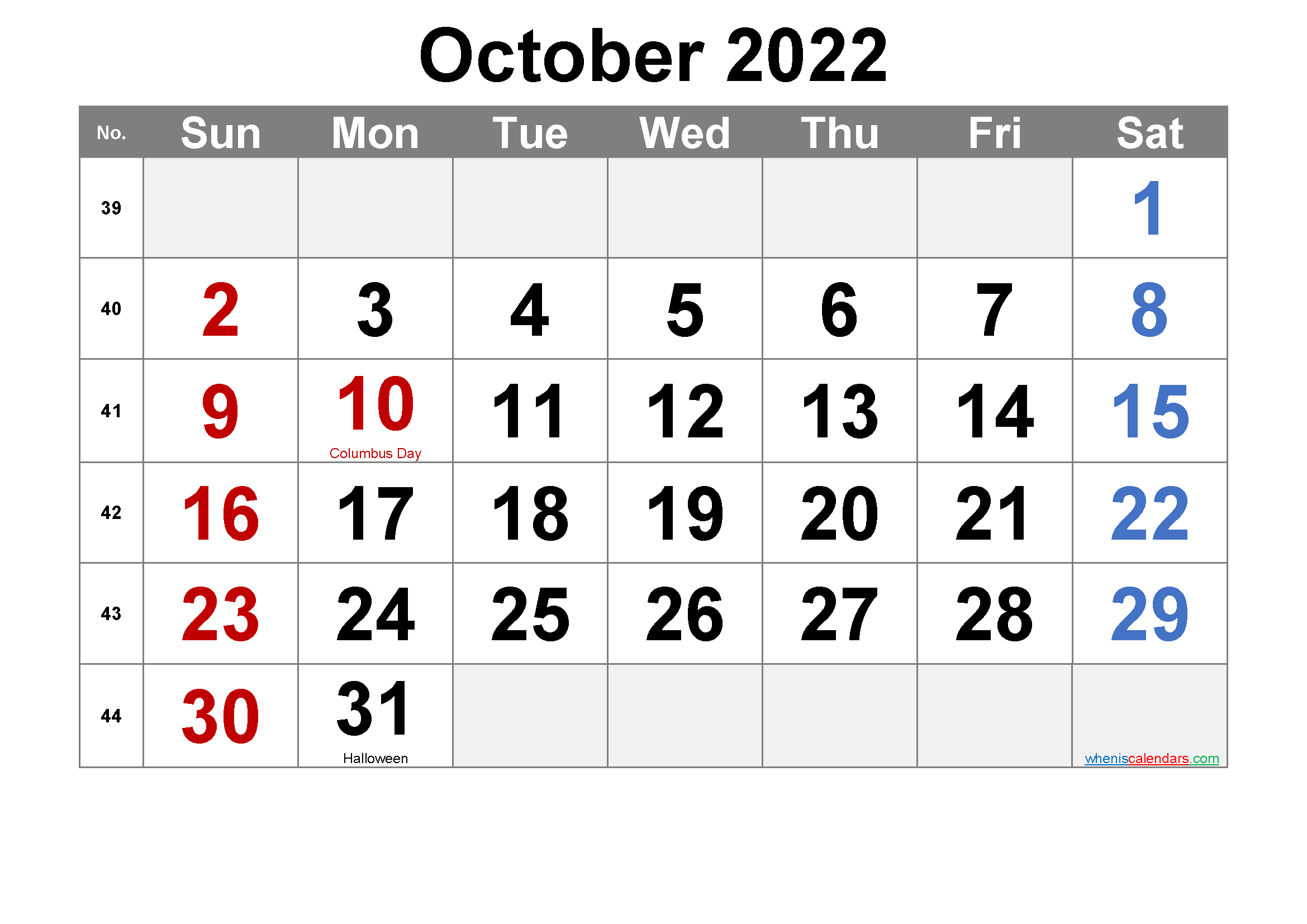 October 2022 Printable Calendar with Holidays