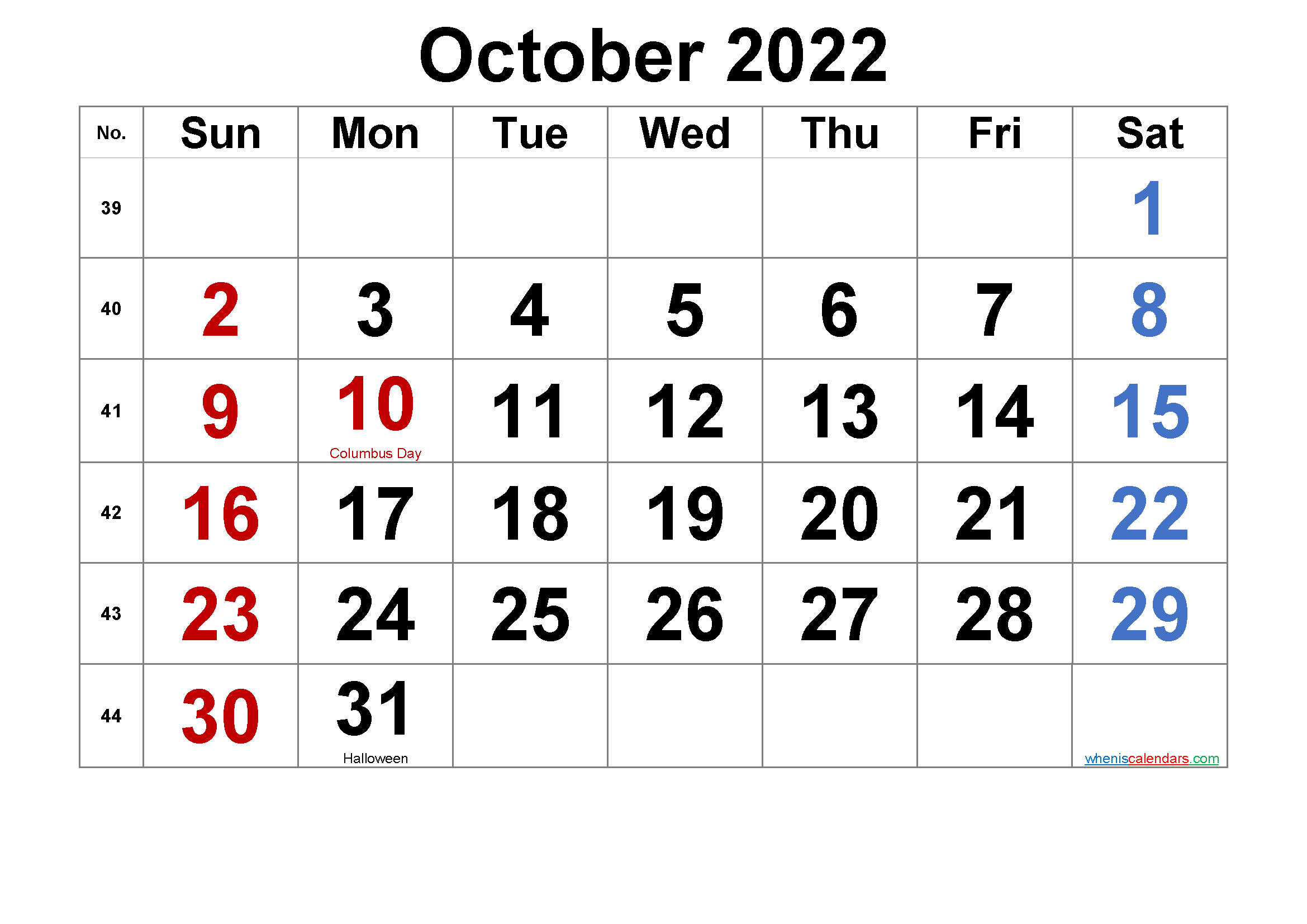 Free Printable OCTOBER 2022 Calendar with Holidays