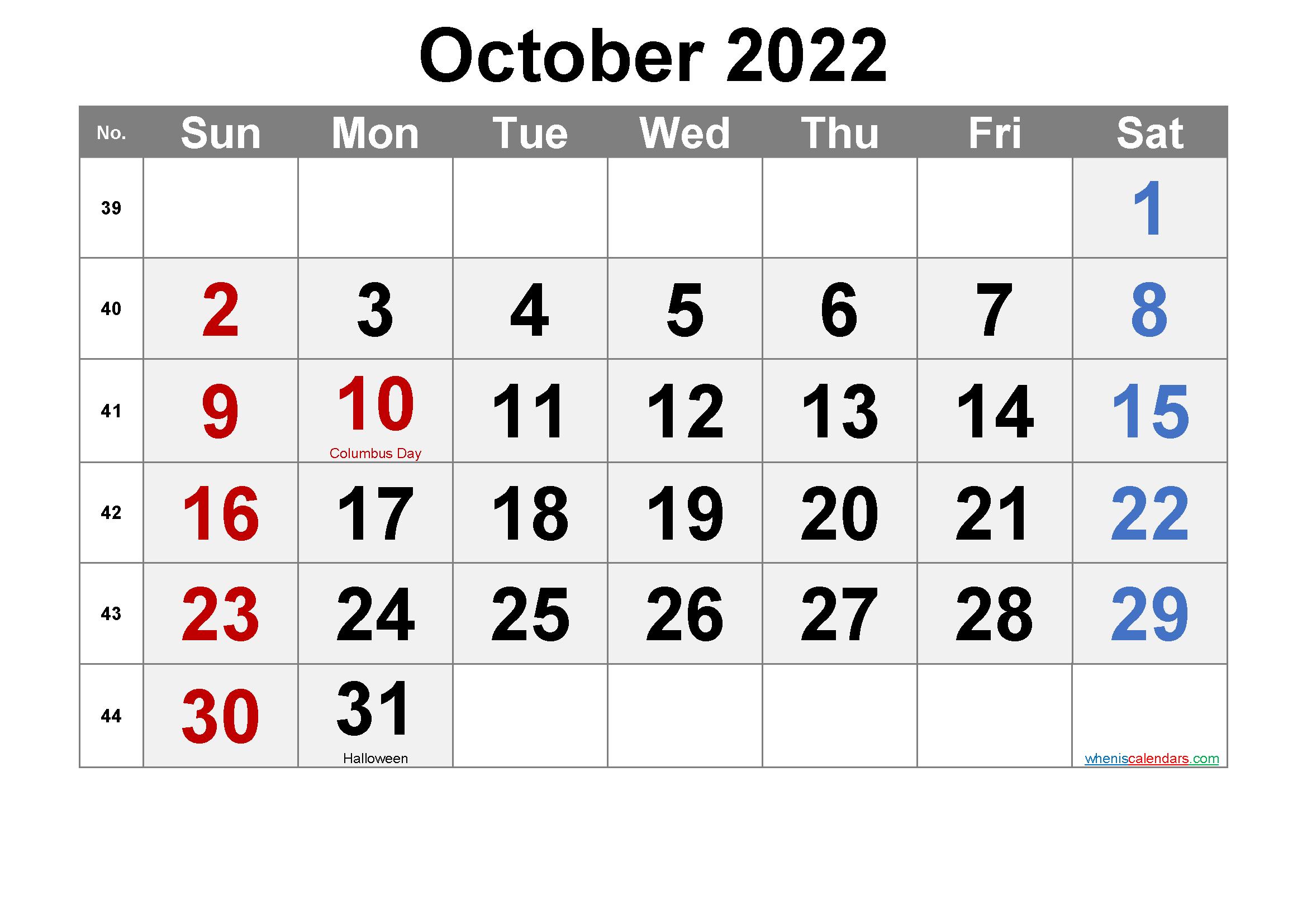 Free OCTOBER 2022 Calendar Printable