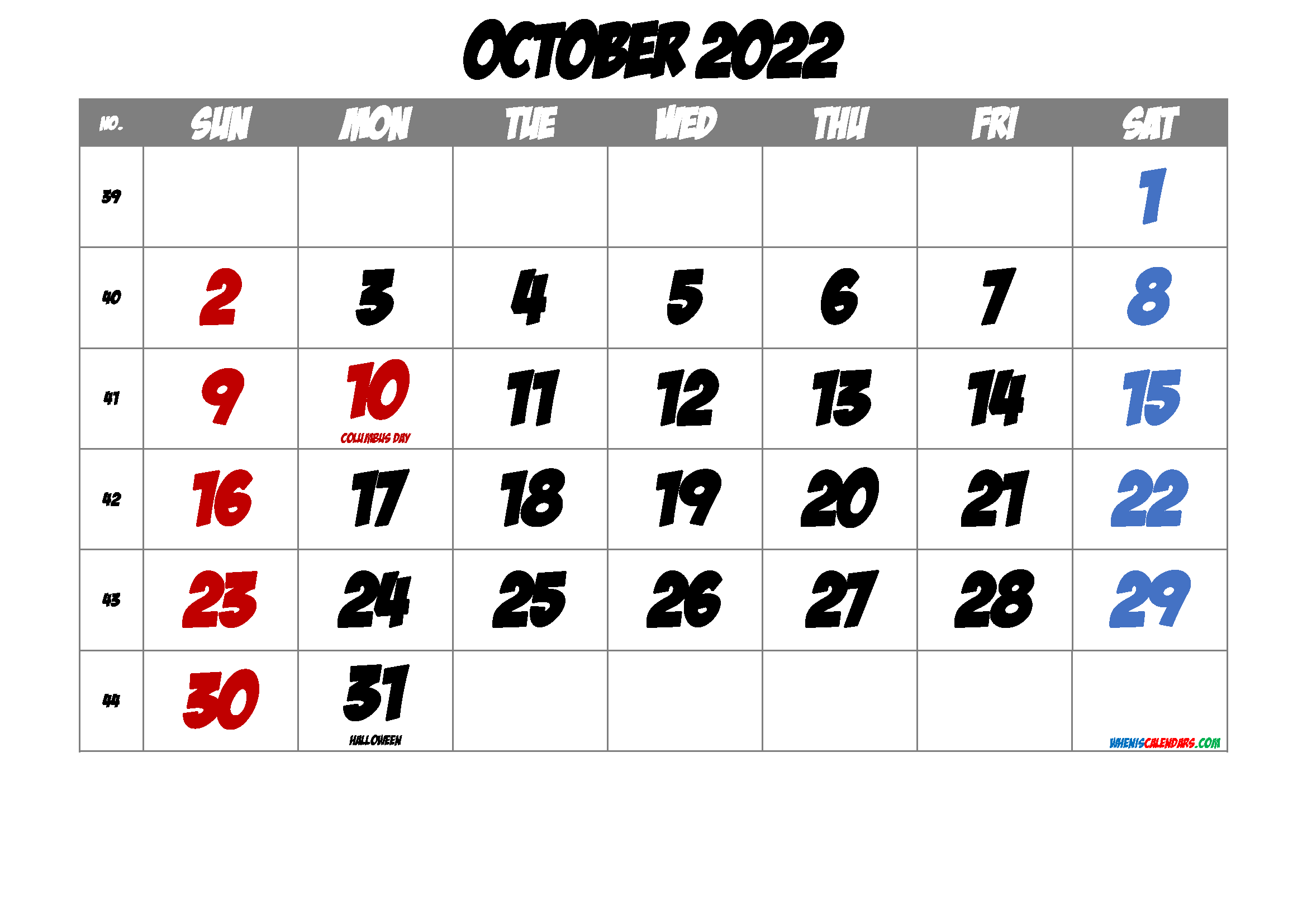 Free Printable Calendar October 2022
