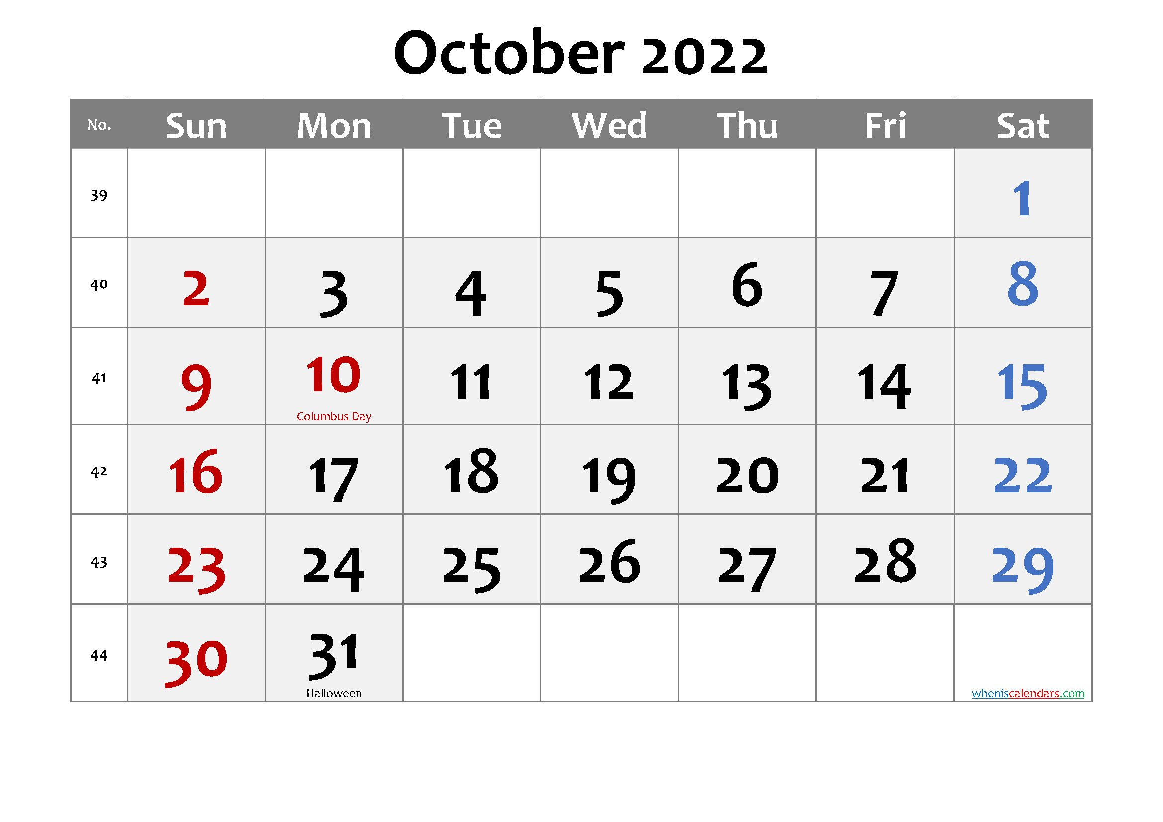 Printable OCTOBER 2022 Calendar with Holidays