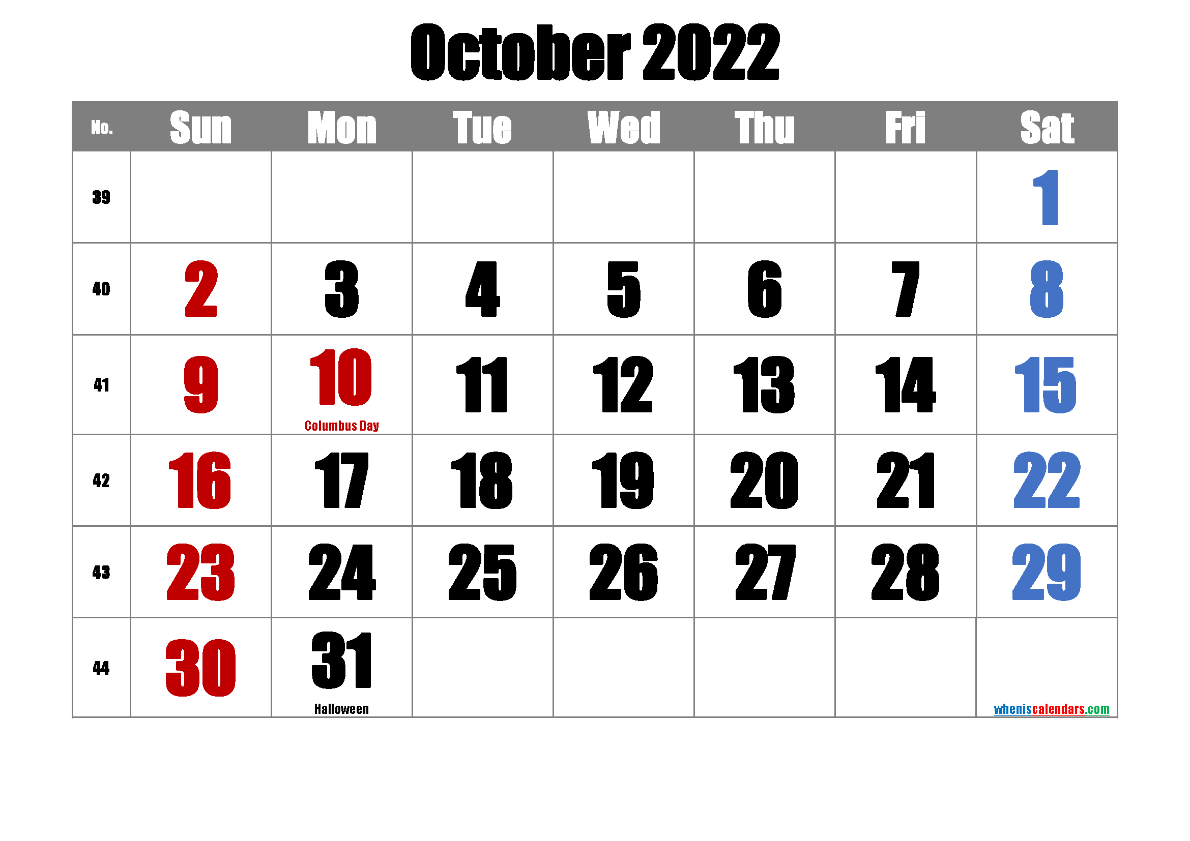 Printable October 2022 Calendar PDF