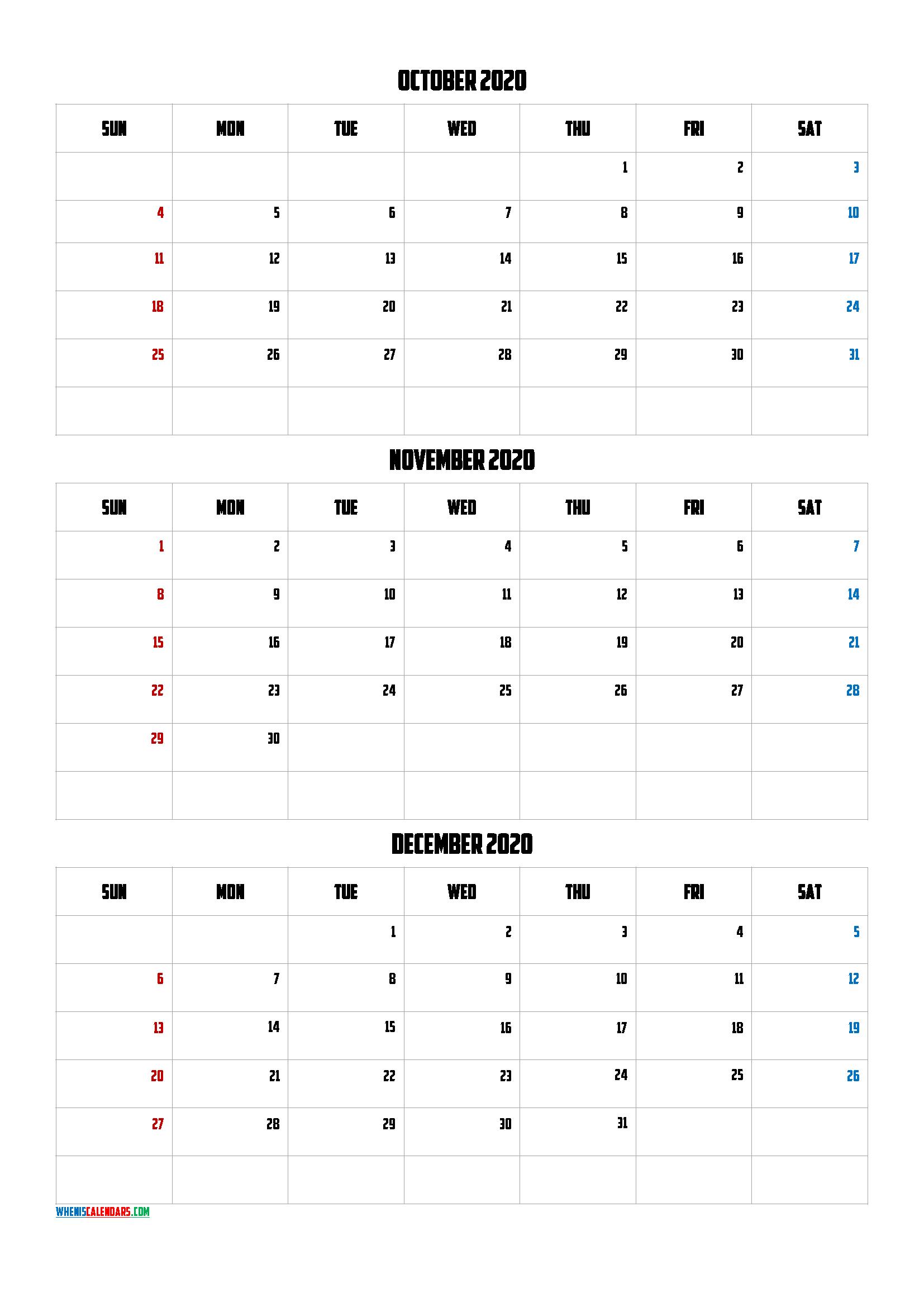 October November December 2020 Calendar PDF