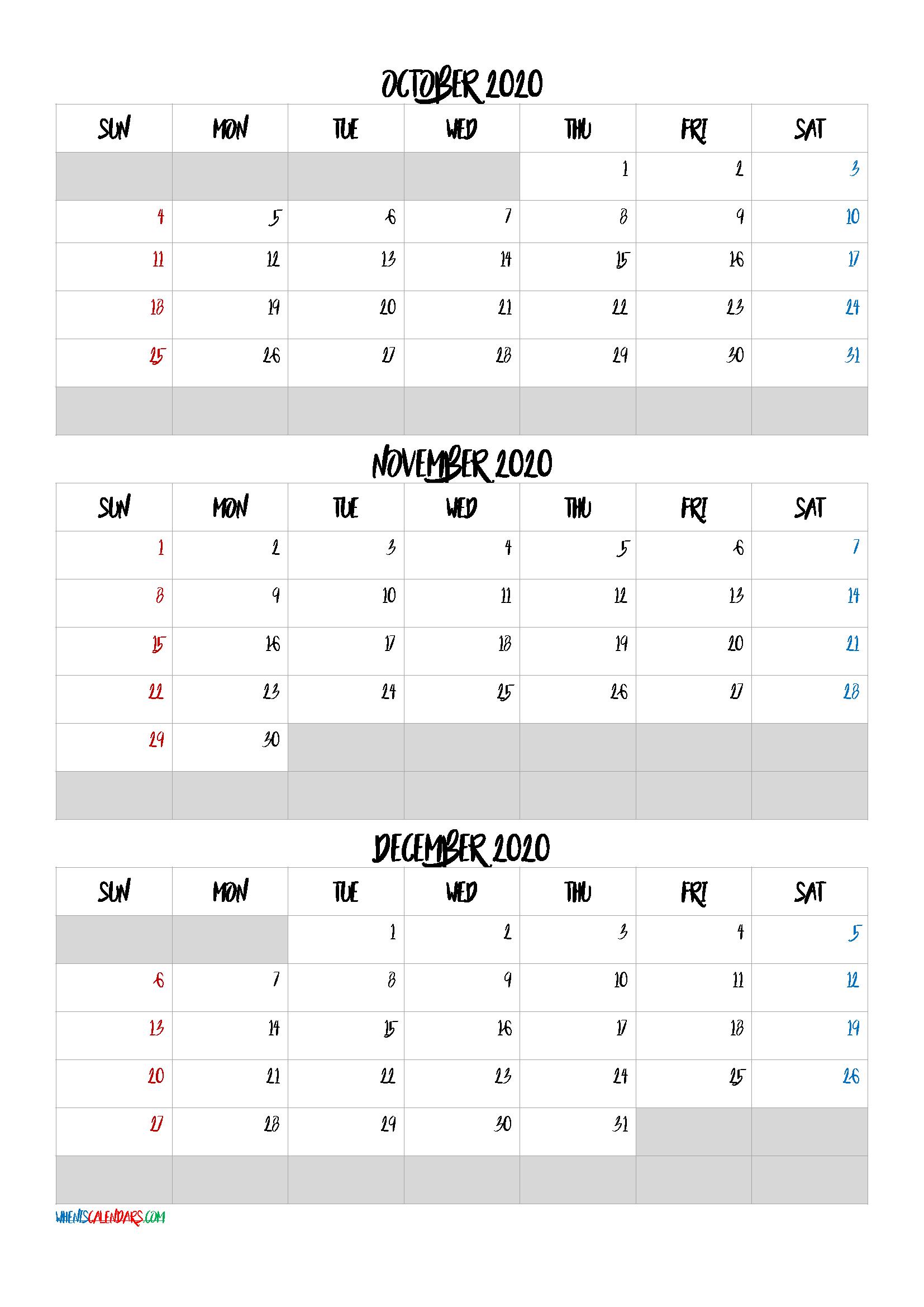 October November December 2021 Free Printable 3 Month Calendar
