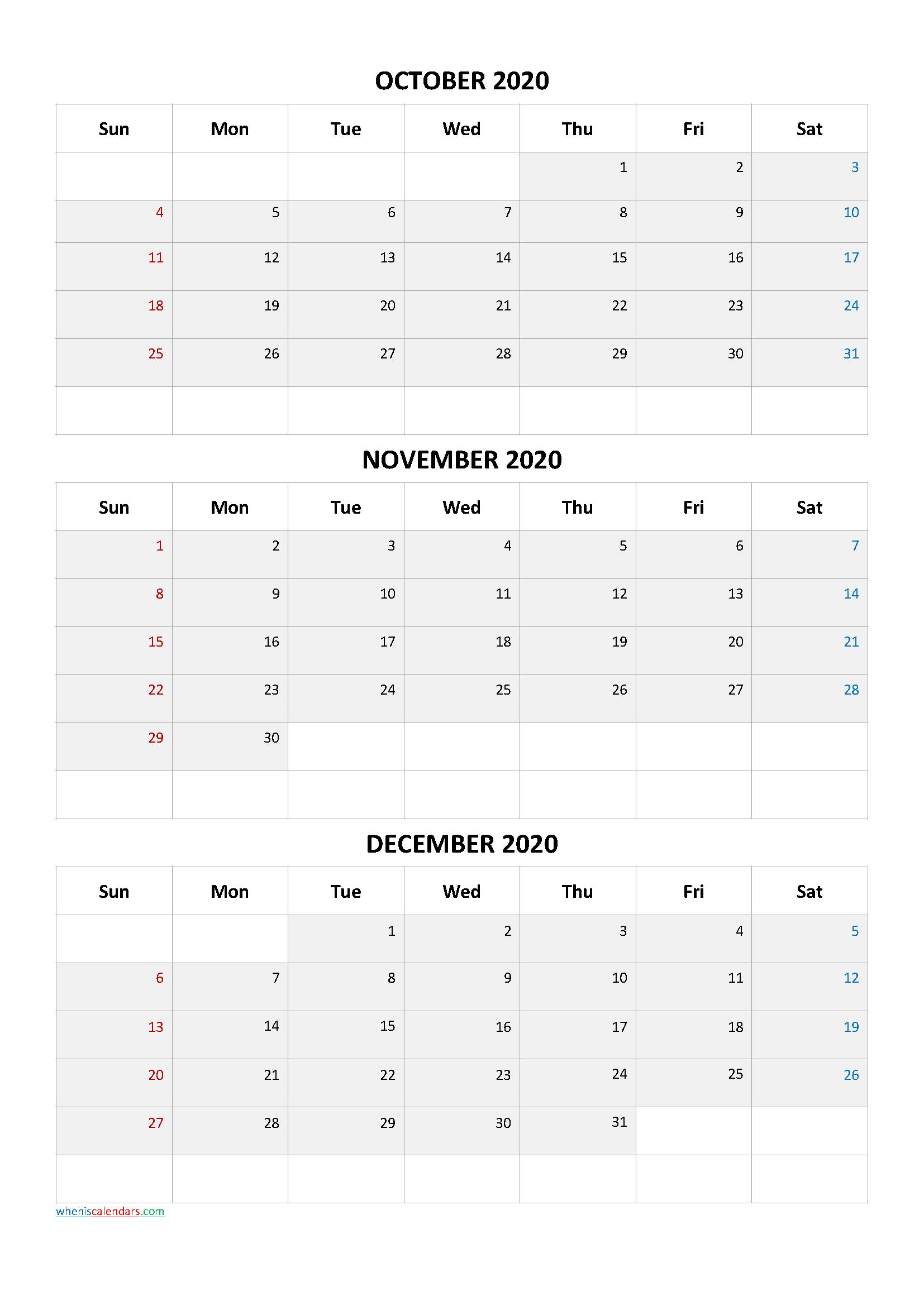 October November December 2020 Three Month Calendar