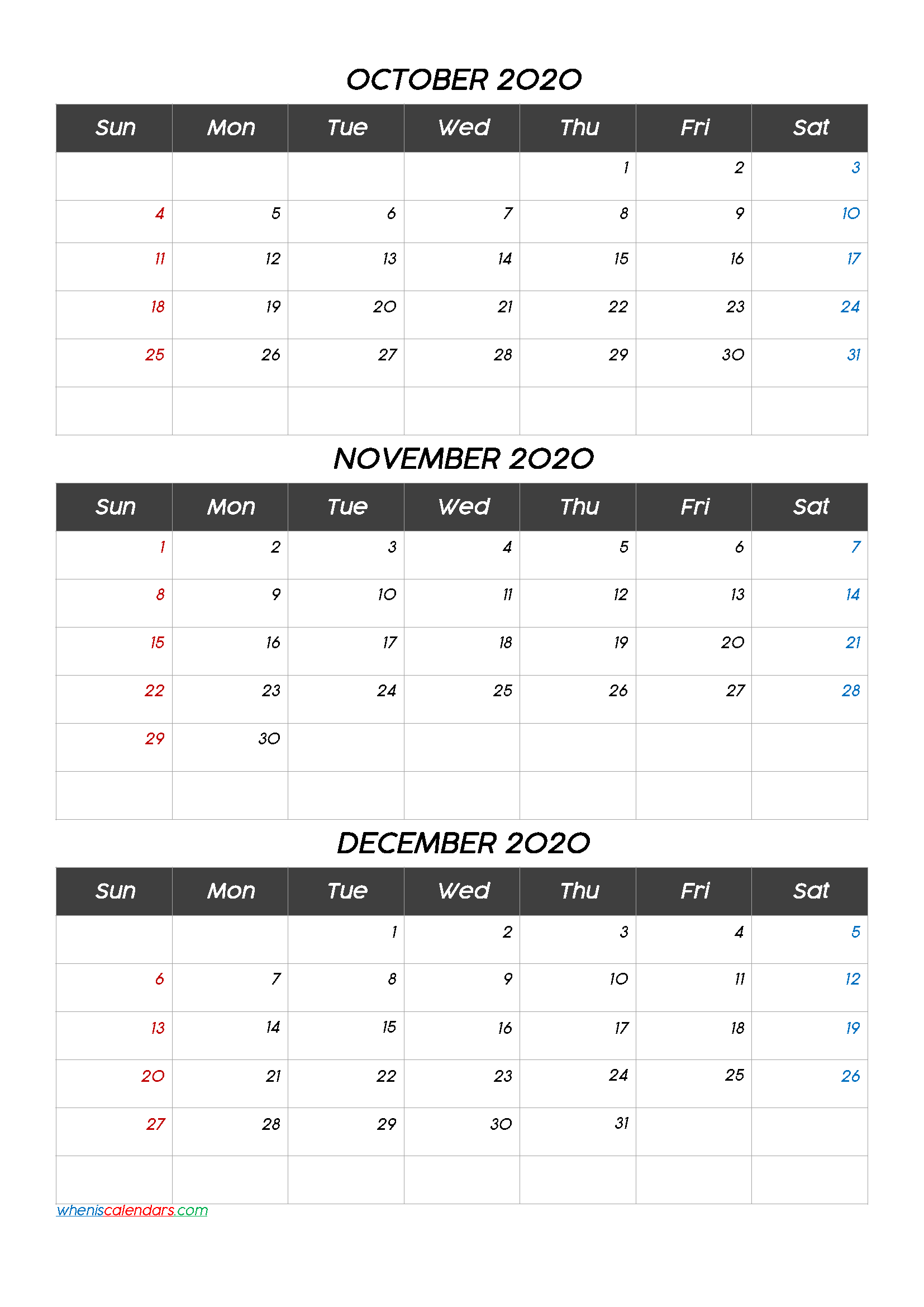 Free Printable 3 Month Calendar2020 October November December