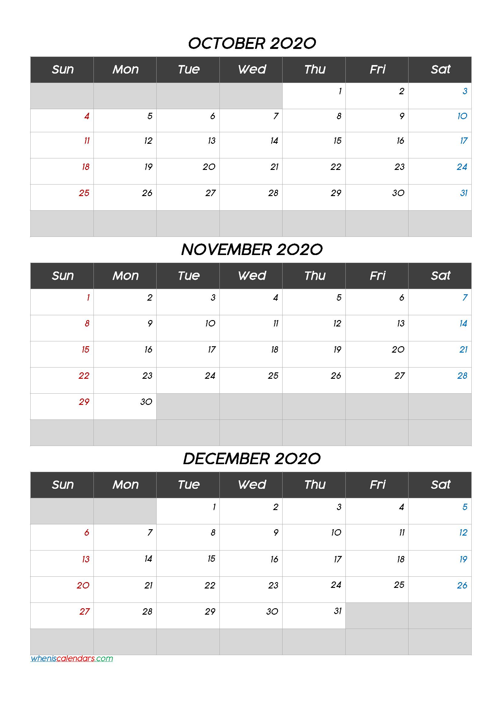 October November December 2020 Free Printable 3 Month Calendar