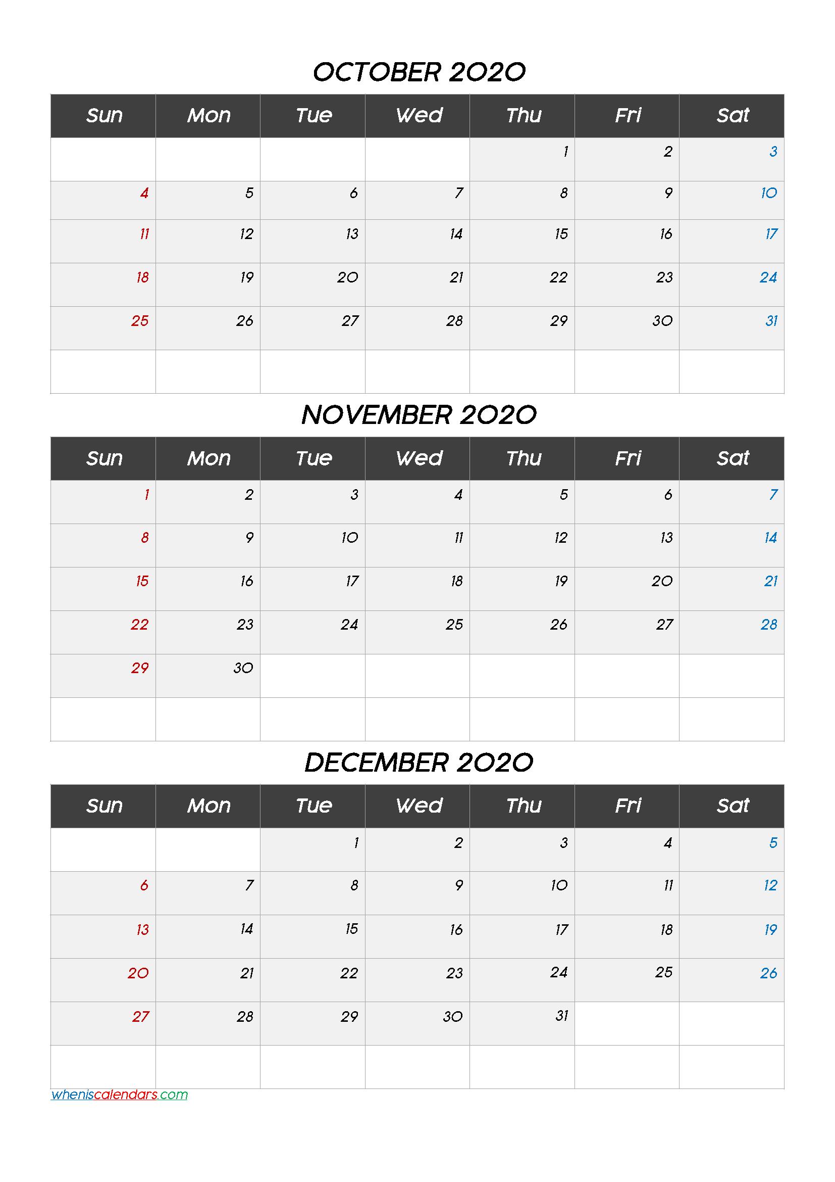 October November December 3 Month Printable Calendar 2020