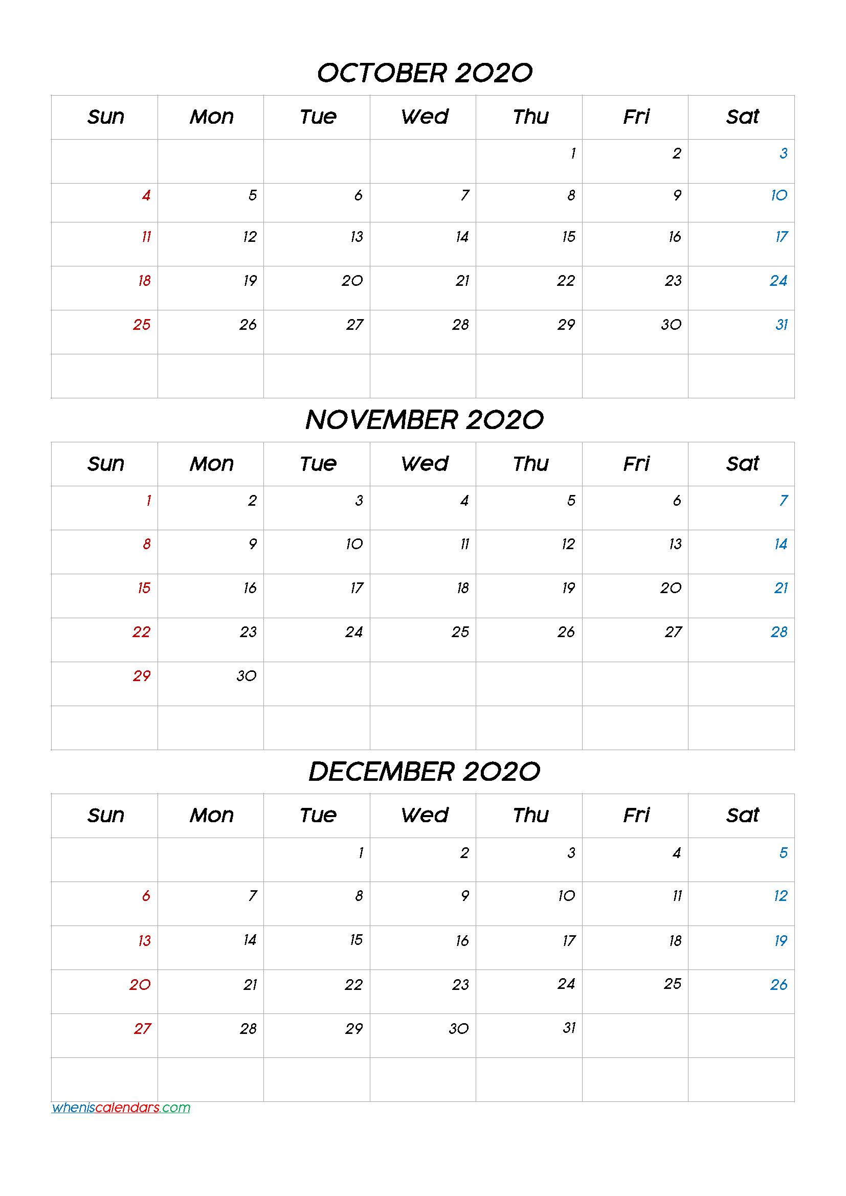 October November December 2021 Three Month Calendar Printable