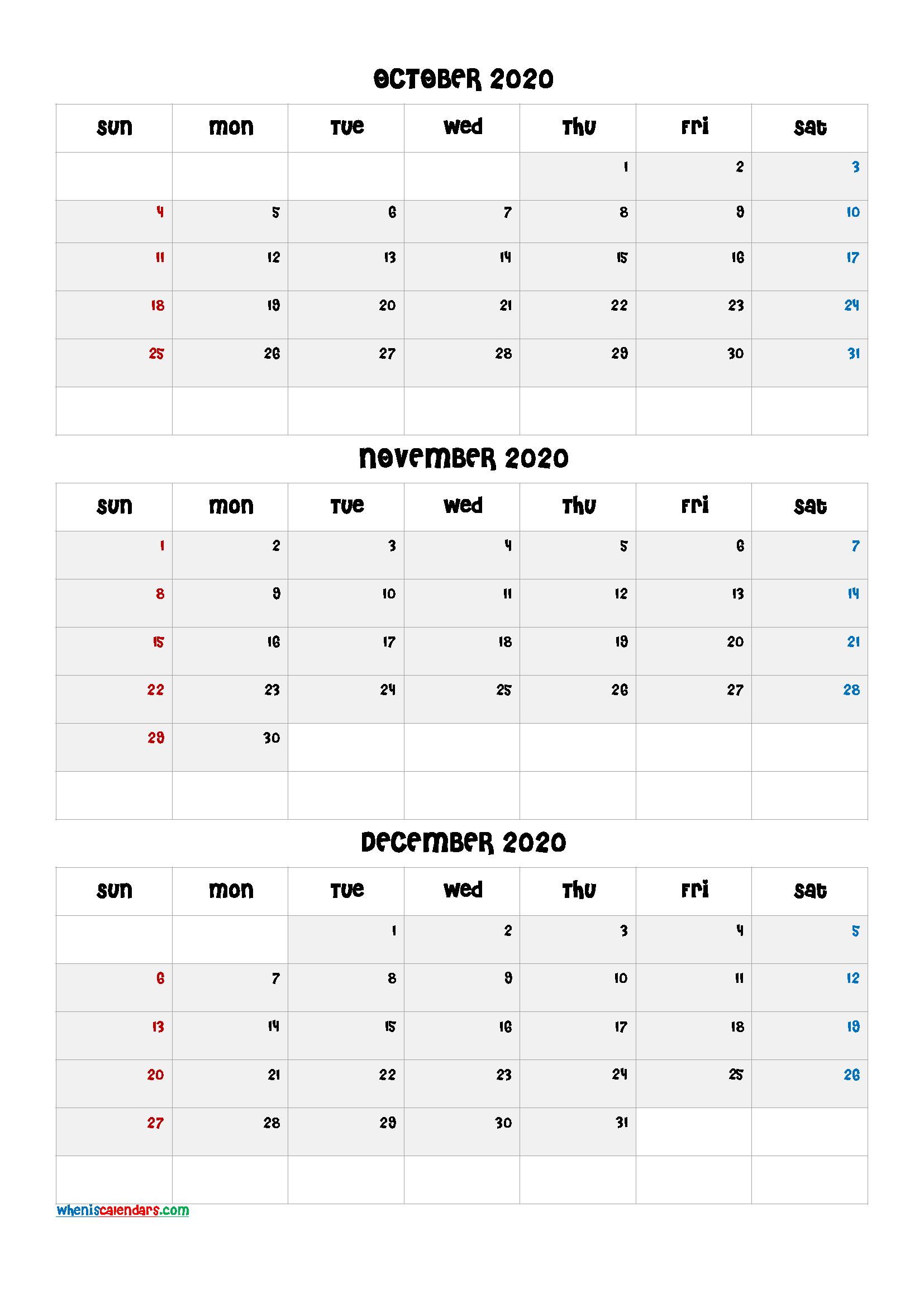 Printable Calendar October November December 2020
