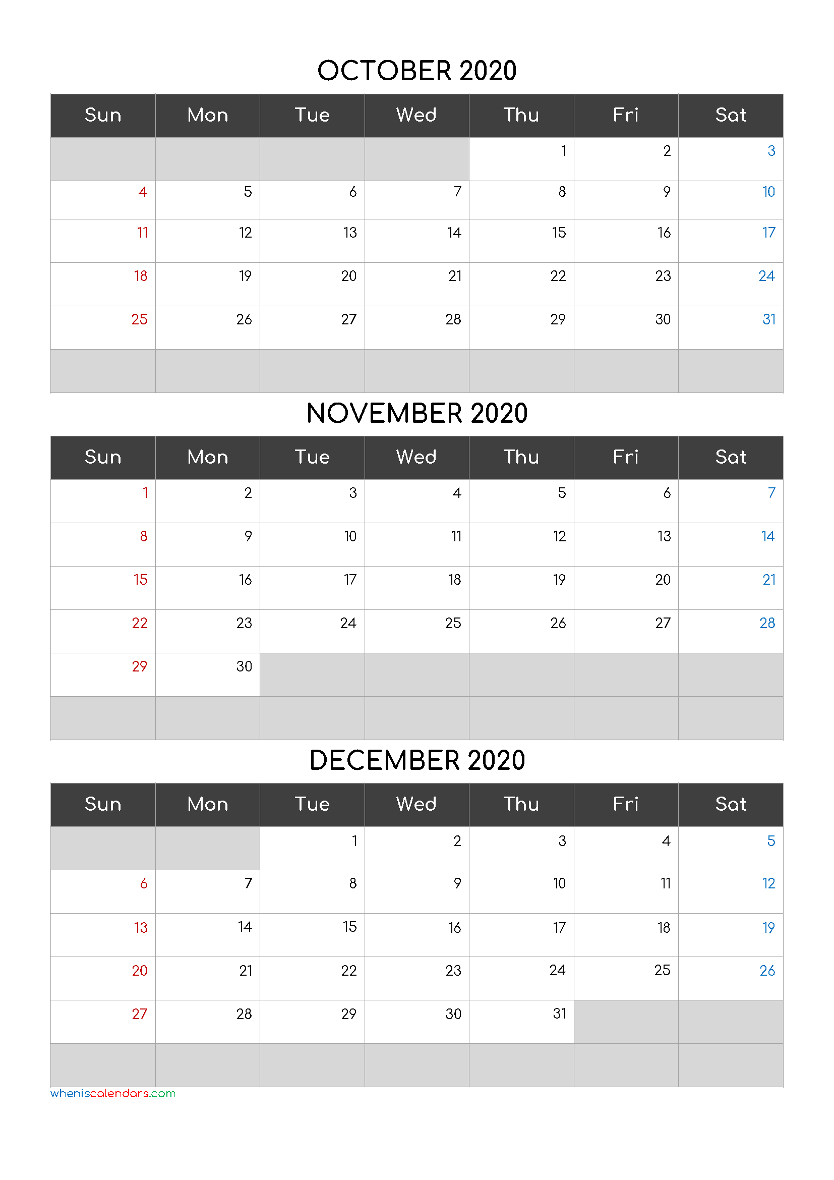 October November December 2020 Free Printable 3 Month Calendar