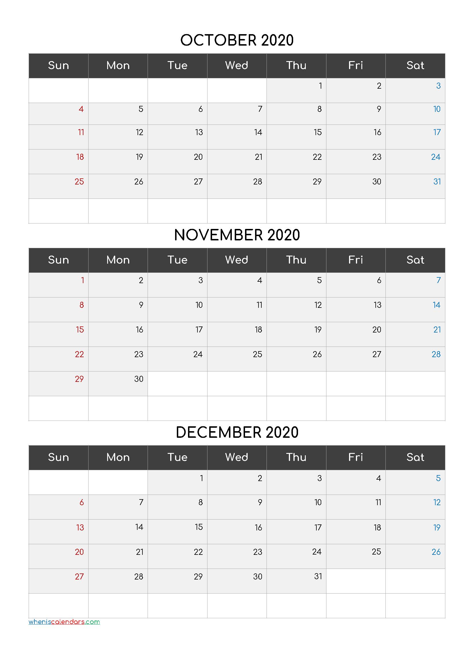 October November December 3 Month Printable Calendar 2021
