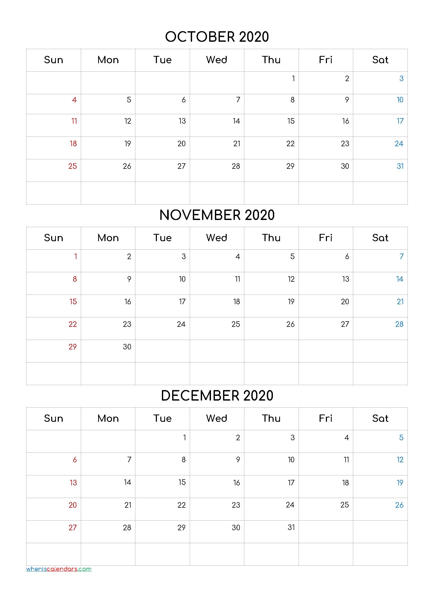October November December 2020 Three Month Calendar Printable