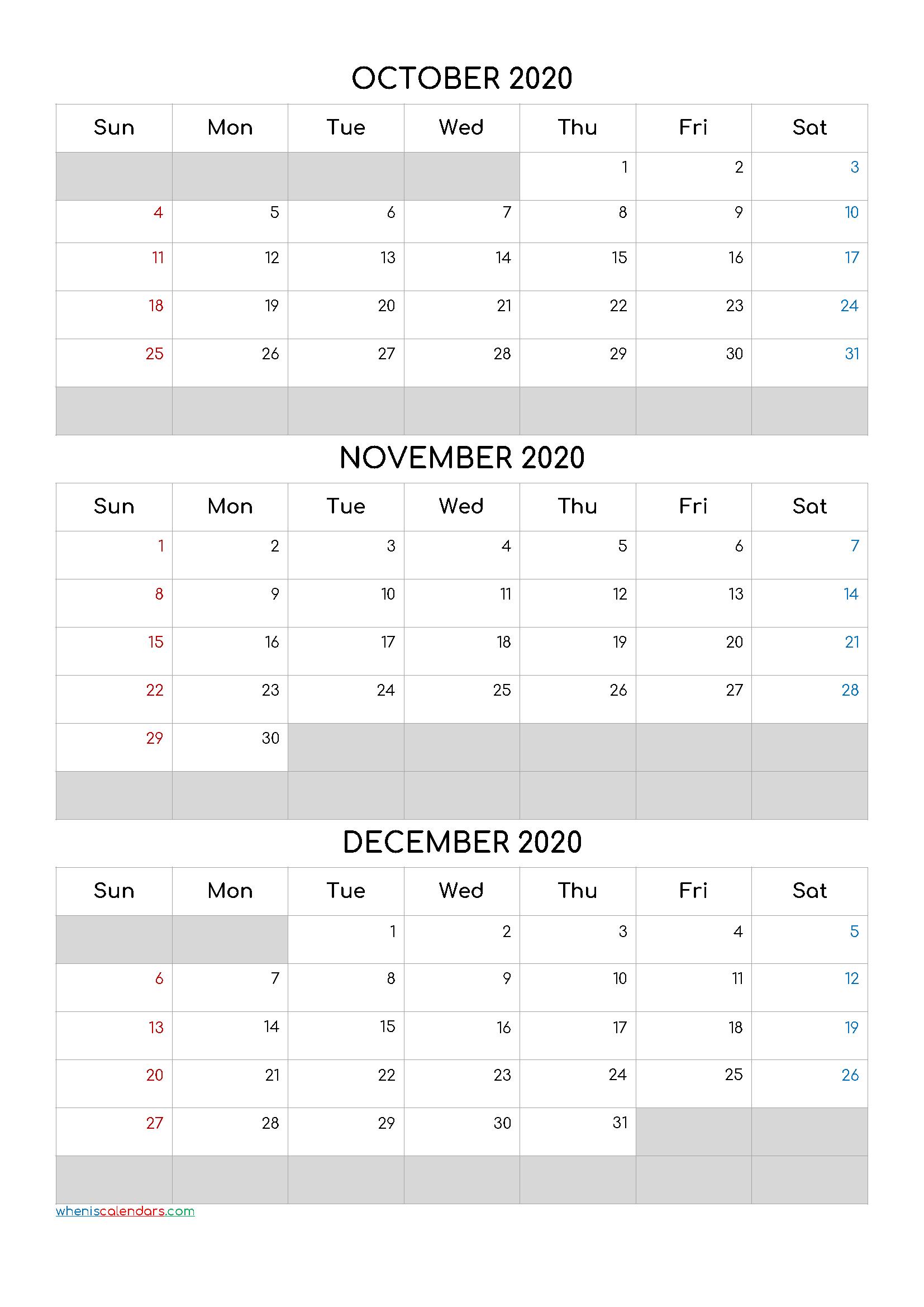 Free Calendar October November December 2020