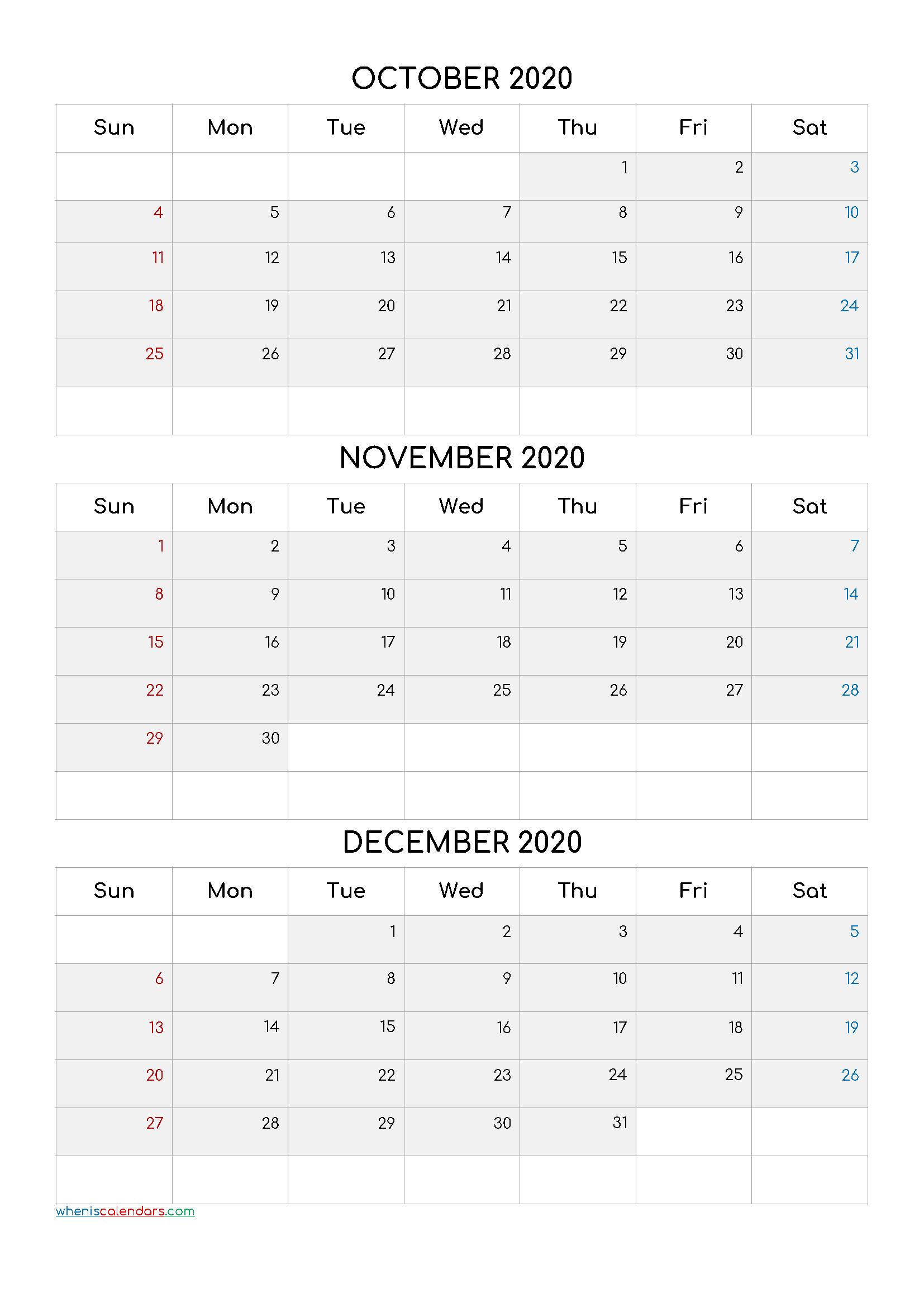 October November December 2021 Three Month Calendar