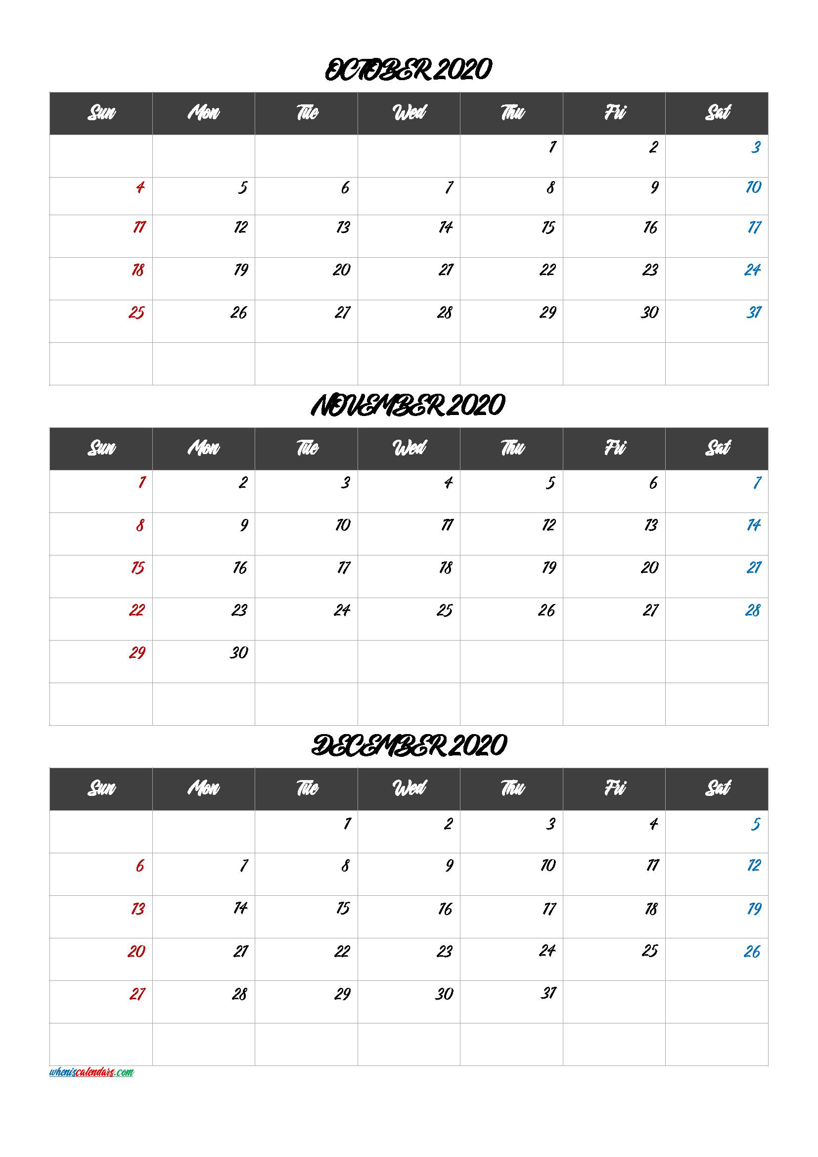 Calendar October November December 2020