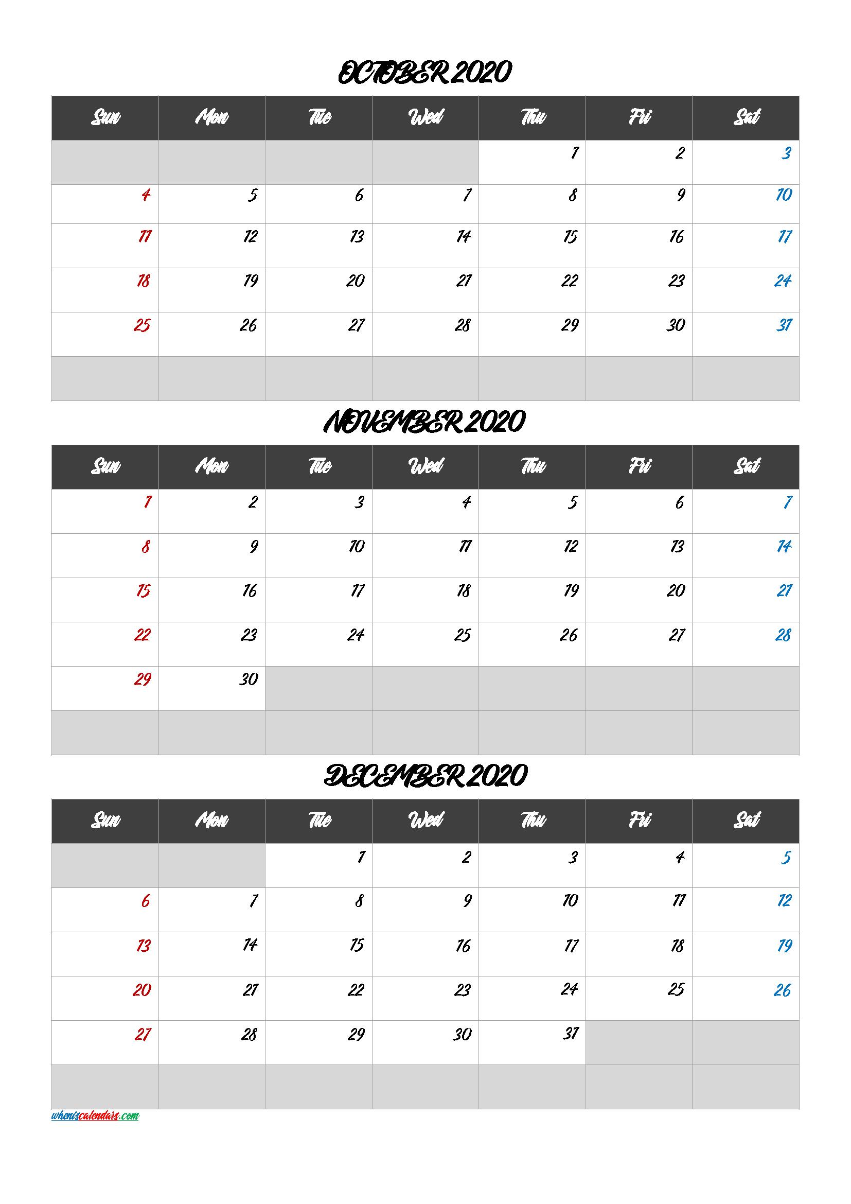 October November December 2020 Calendar Free Download