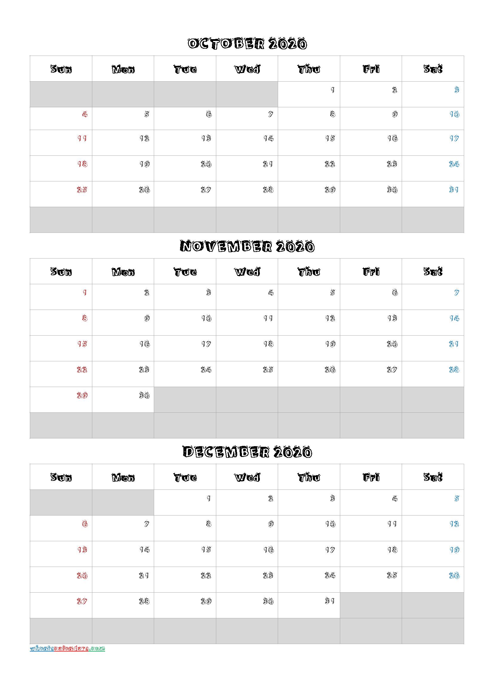 October November December 2020 Calendar Template