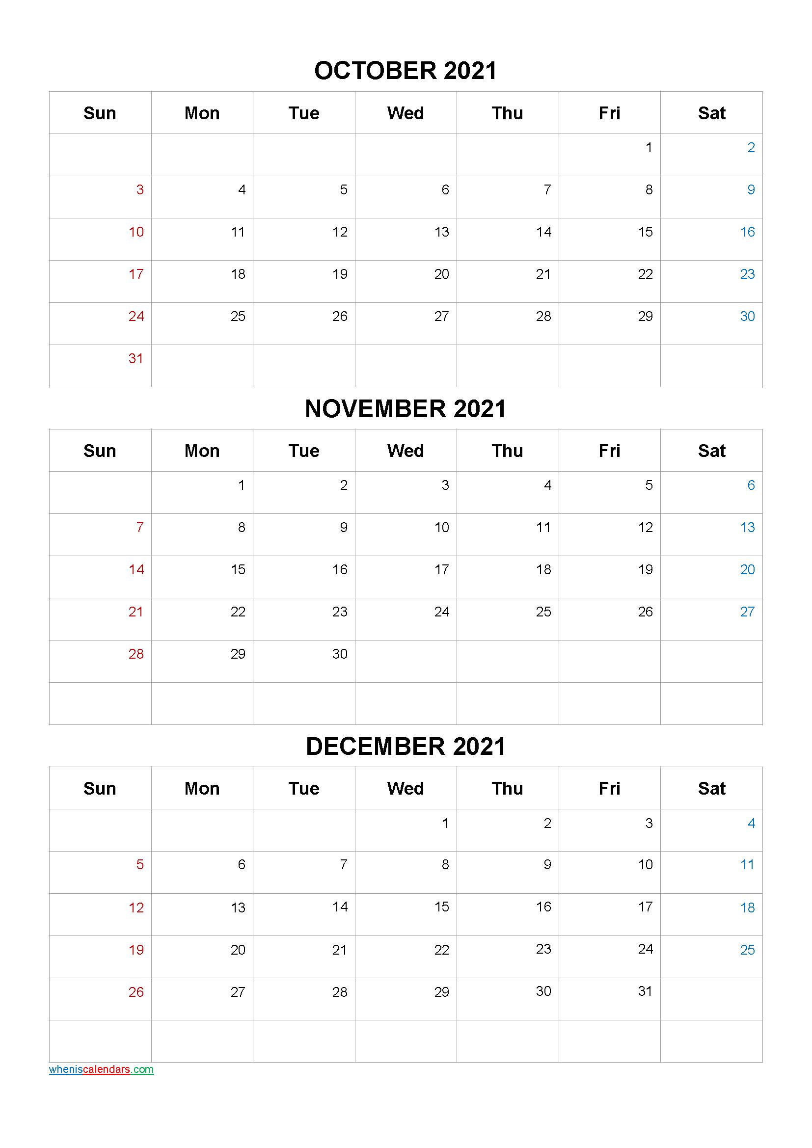 October November December 2021 Calendar Printable Free